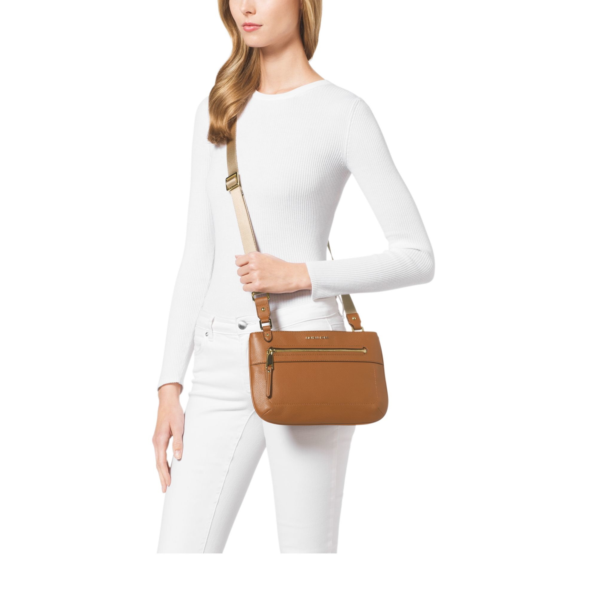 bf5ad98484ae Lyst - Michael Kors Jet Set Large Leather Crossbody in Brown