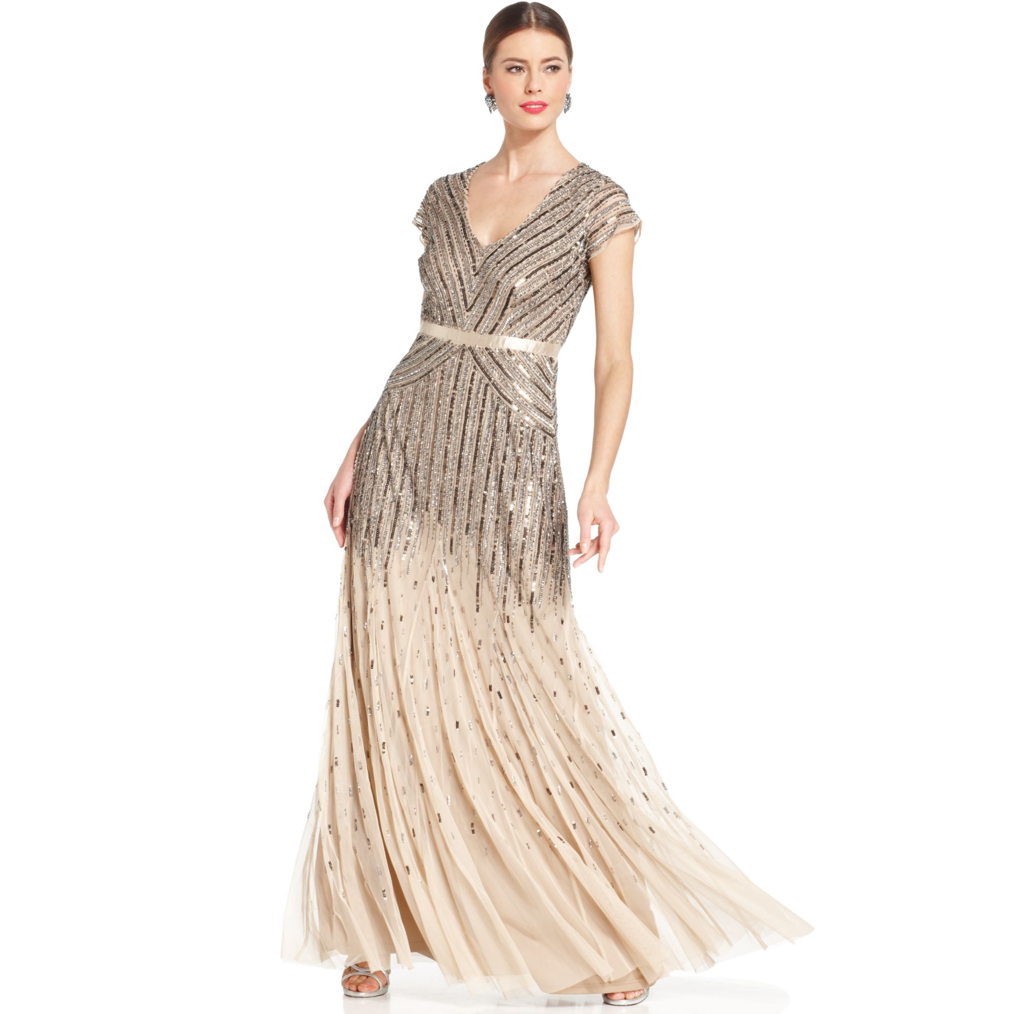 Lyst - Adrianna Papell Capsleeve Beaded Sequined Gown in Natural