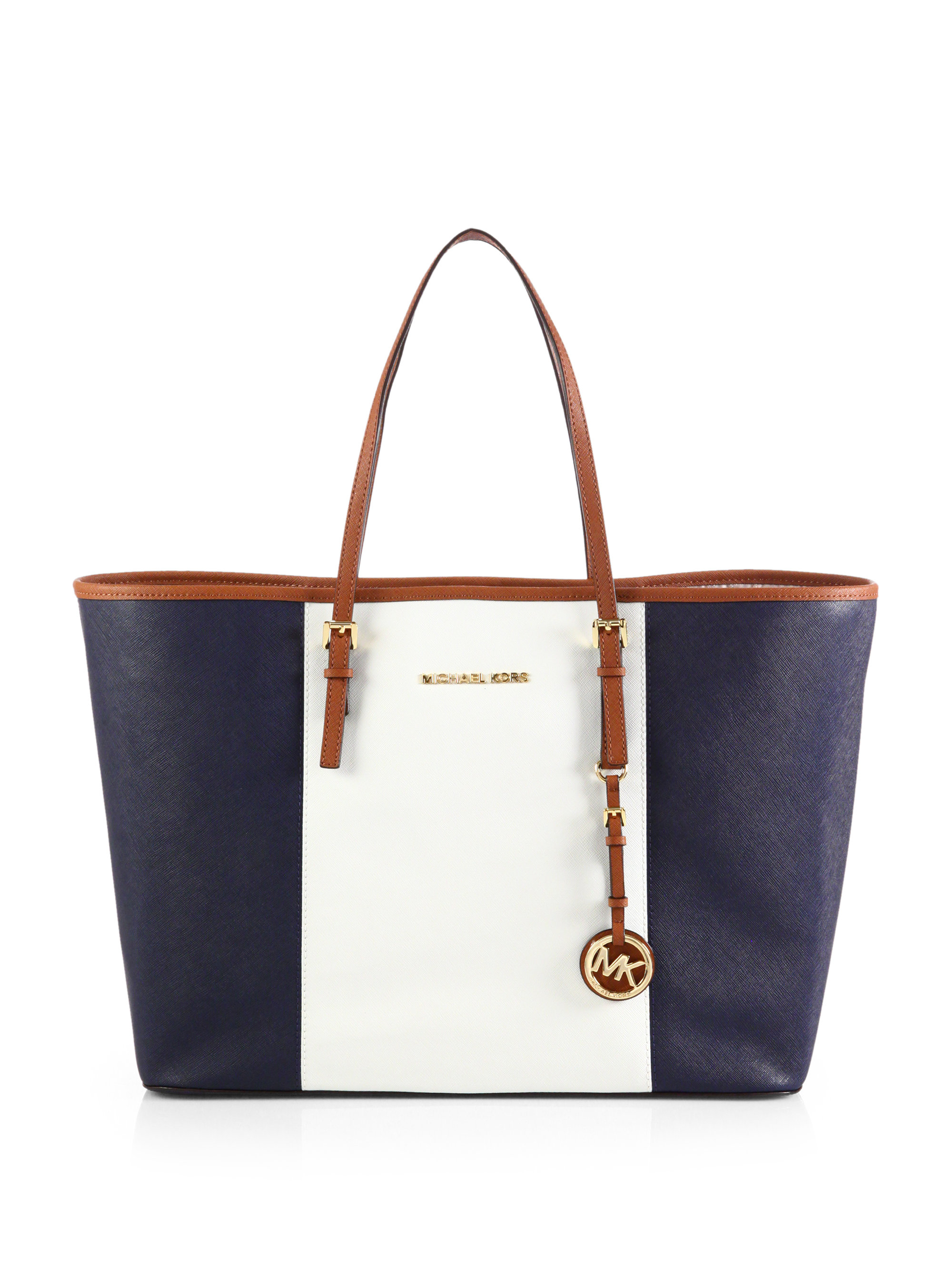 Michael michael kors Colorblock Medium Travel Tote in Blue | Lyst
