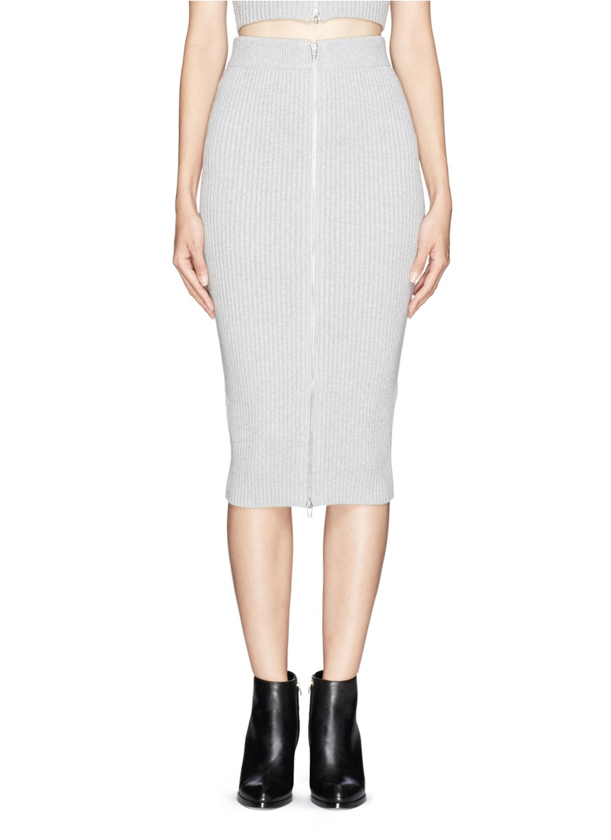 T by alexander wang Rib Knit Midi Pencil Skirt in Gray | Lyst
