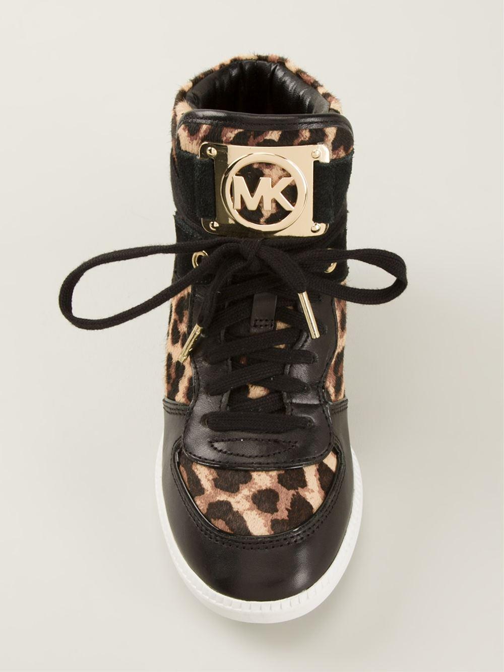 pennyblack_Lyst - Michael Michael Kors Leopard Print Concealed Wedge Sneakers in Black