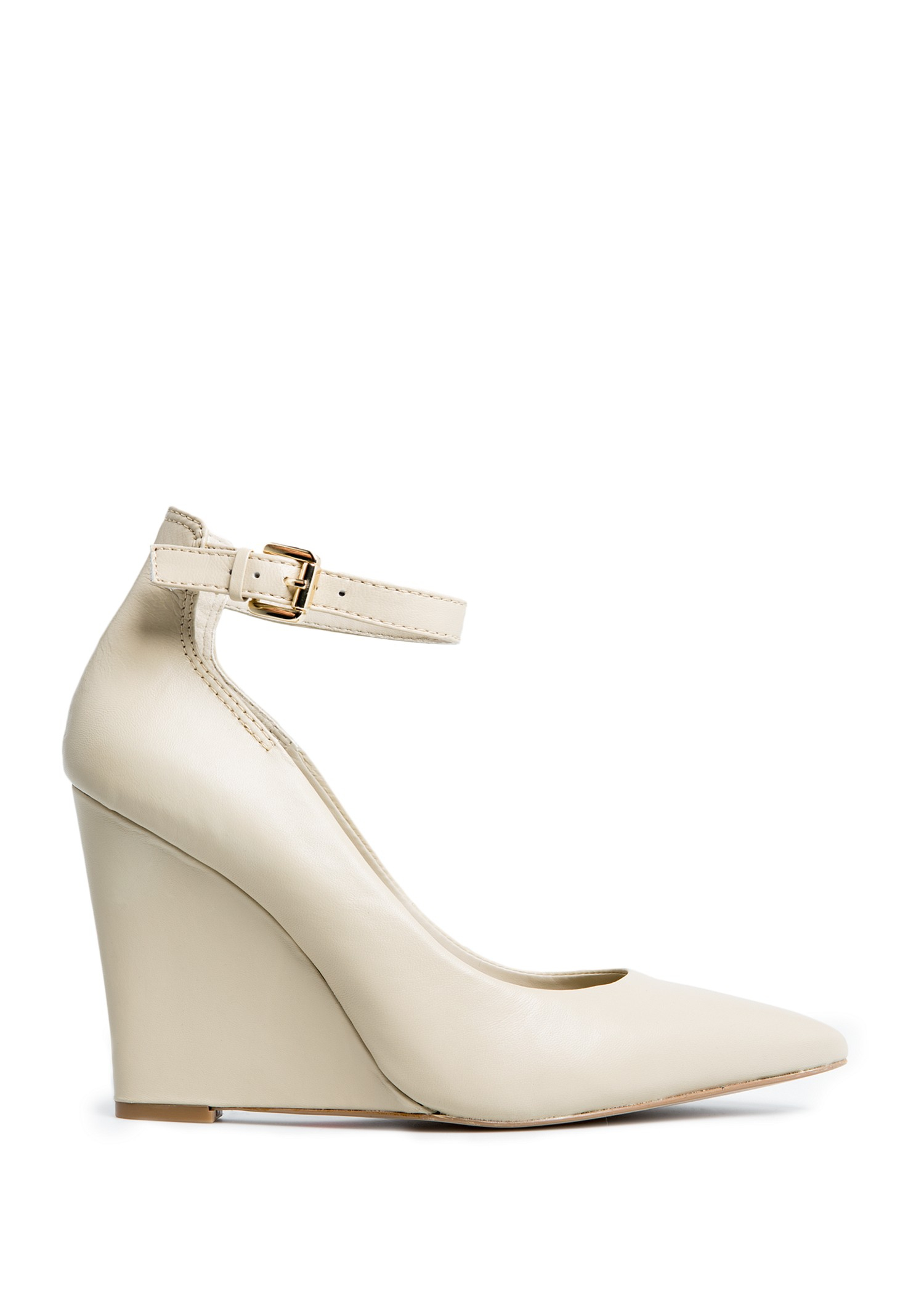 Lyst - Mango Touch Ankle Strap Leather Wedge Shoes in White