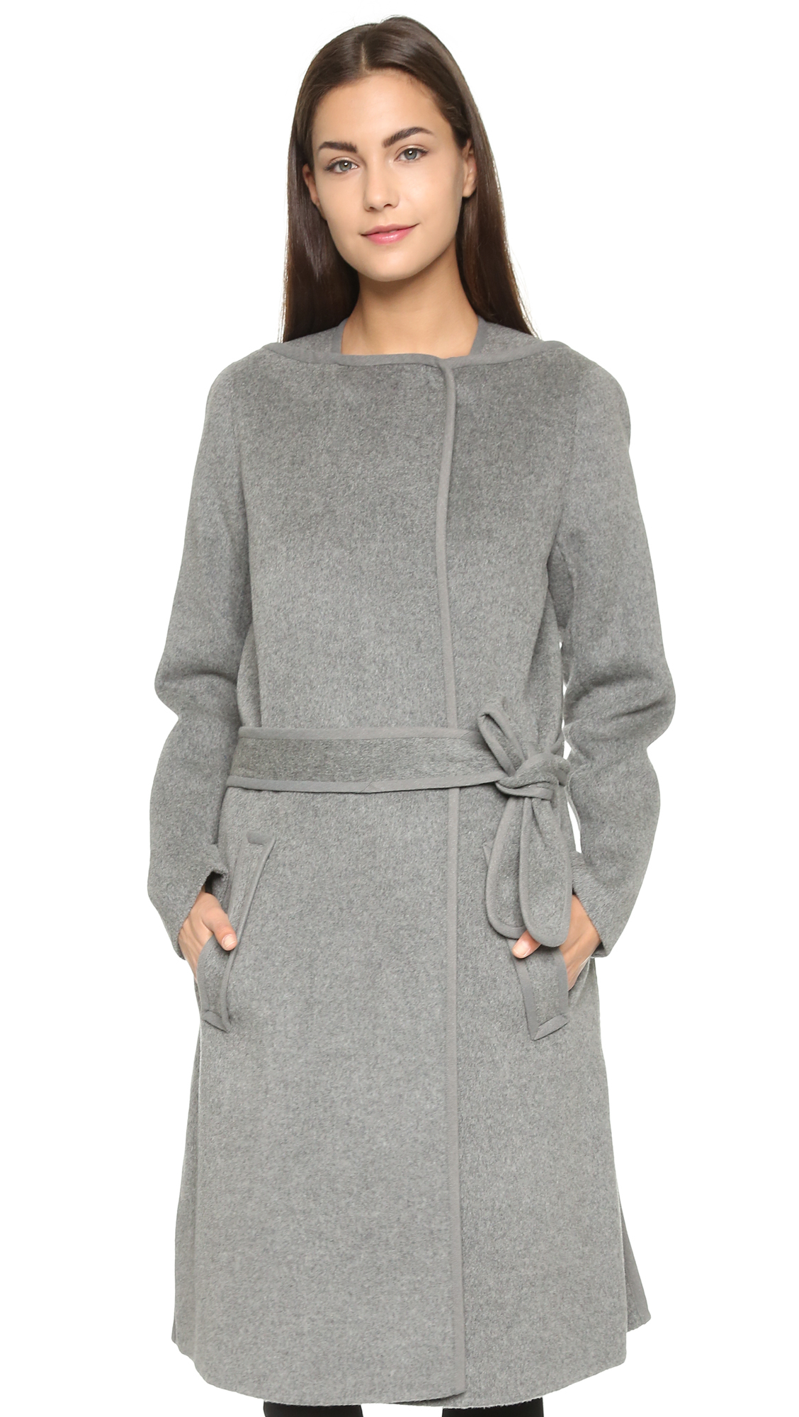 Vince Belted Car Coat - Charcoal Melange in Gray | Lyst