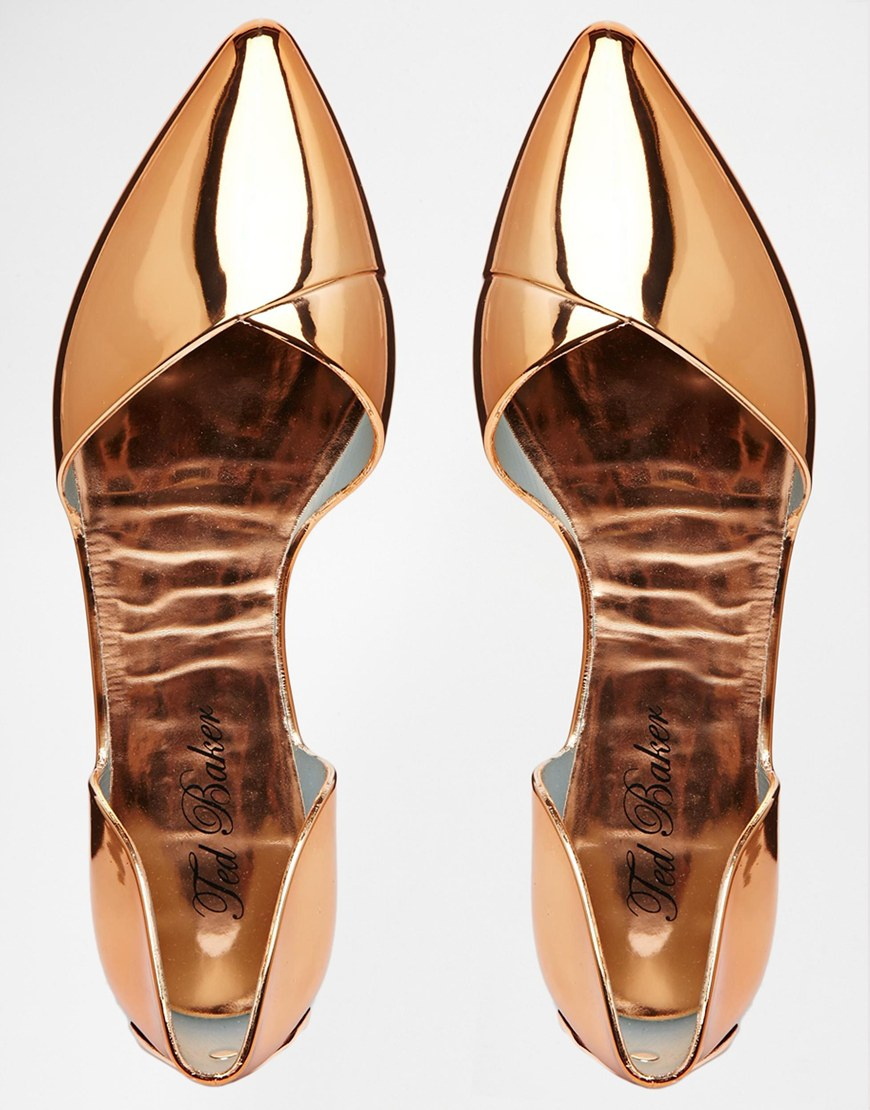 2ce0cd98665c Lyst - Ted Baker Dawfodyl Metallic Jelly Two Part Point Flat Shoes ...