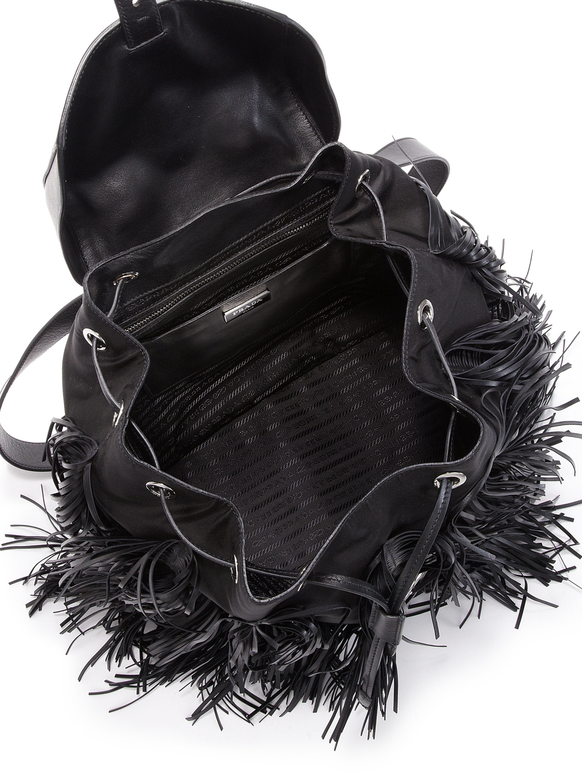Prada Fringed Nylon \u0026amp; Leather Backpack in Black | Lyst