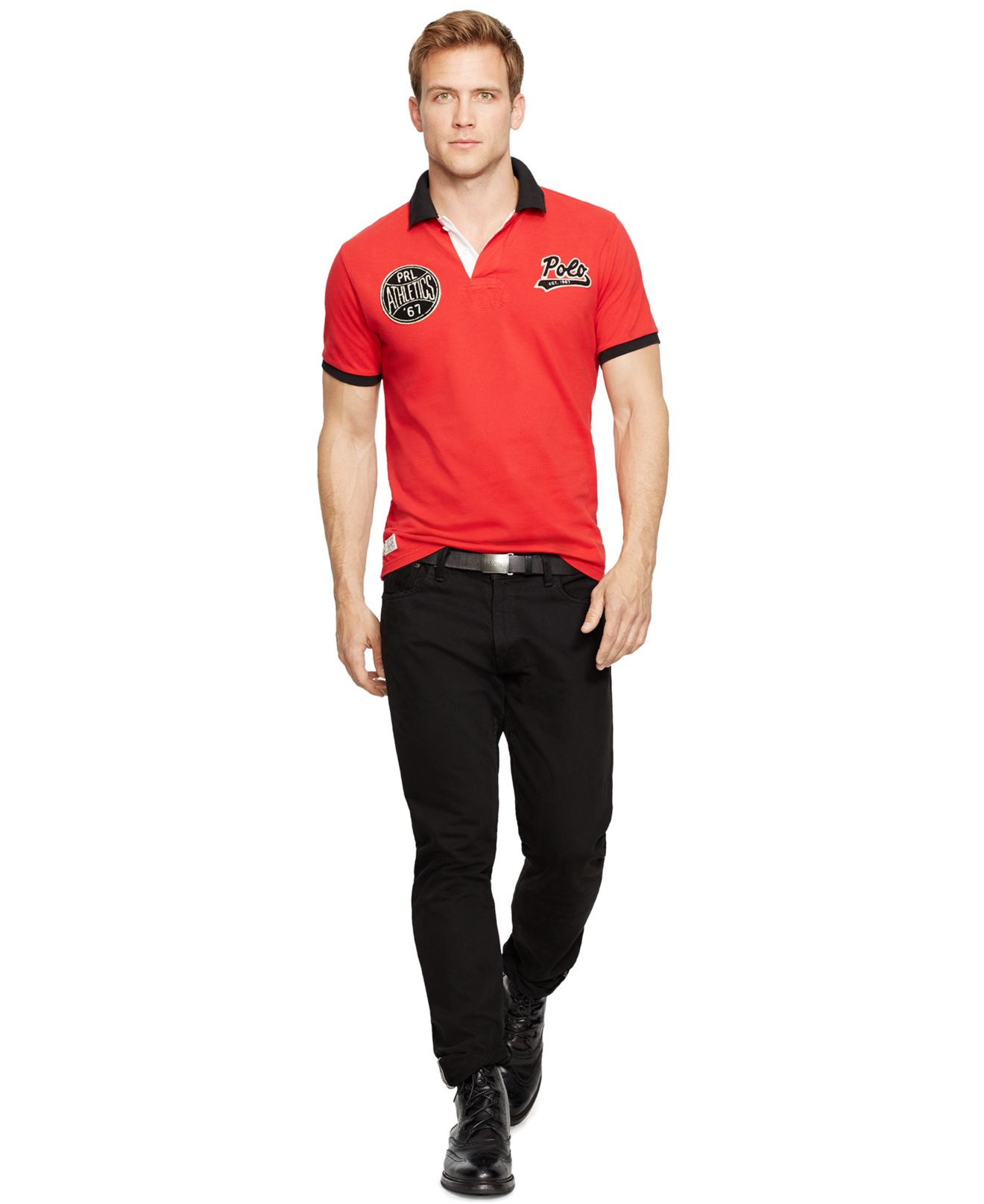 Polo ralph lauren Custom-fit Athletics Mesh Polo in Red for Men (RL 2000