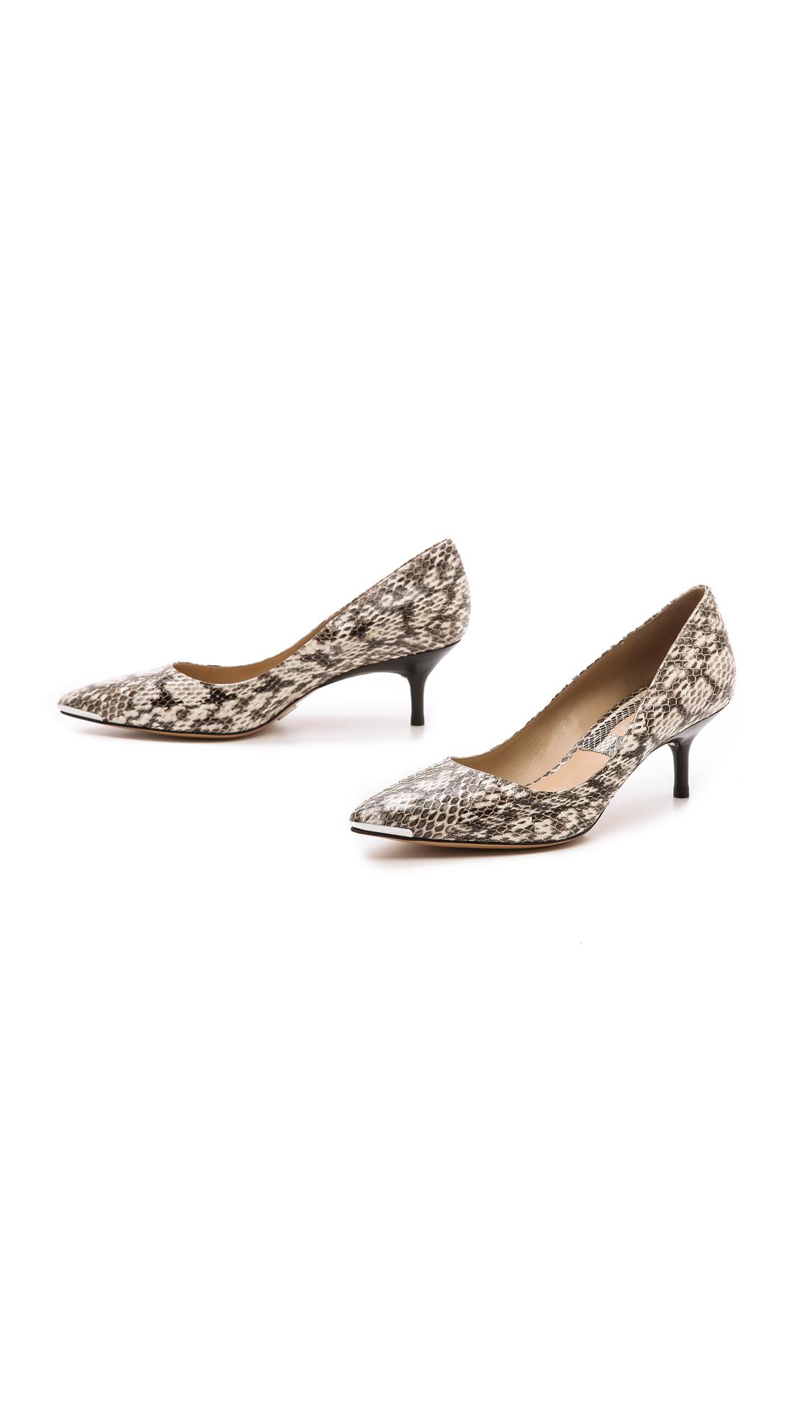 Michael kors Trisha Snakeskin Kitten Heels - Natural in Natural  Lyst