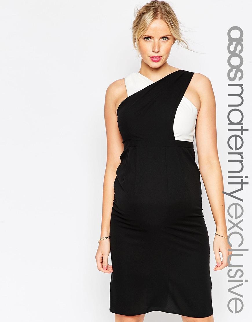 Lyst - Asos Maternity Wrap Top Midi Dress In Mono Colourblock in Black