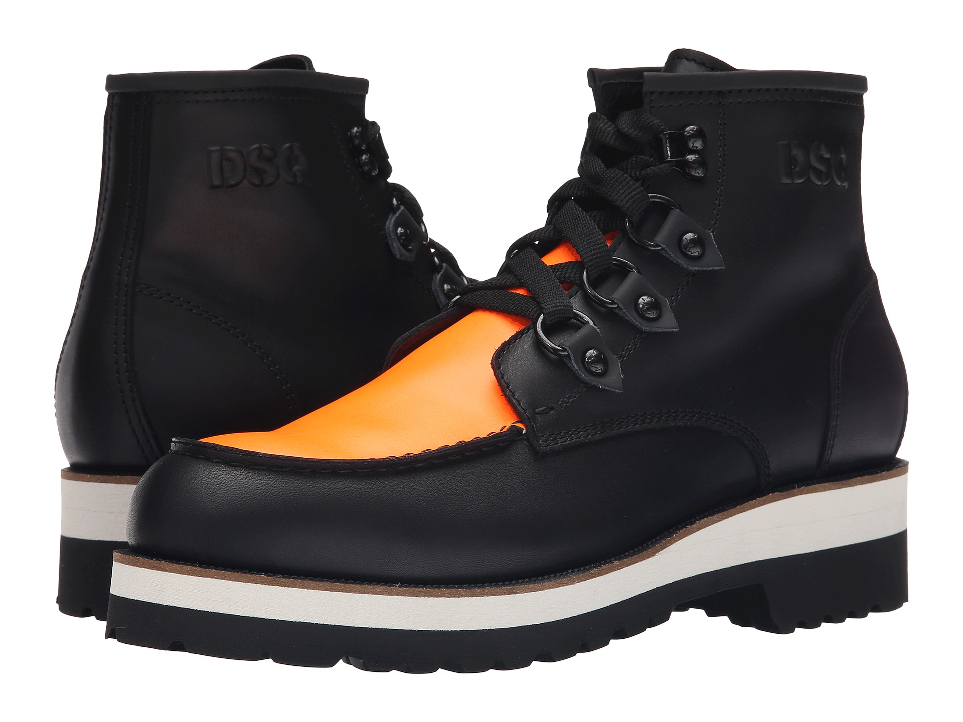 dsquared 178 construction calf leather ankle boot in black lyst