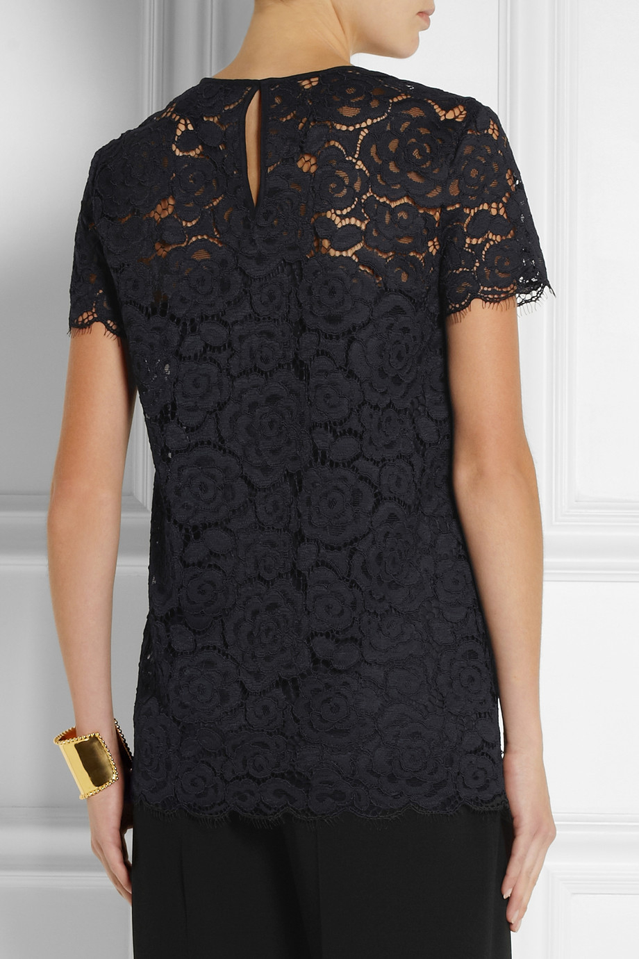 lyst dkny florallace top in black