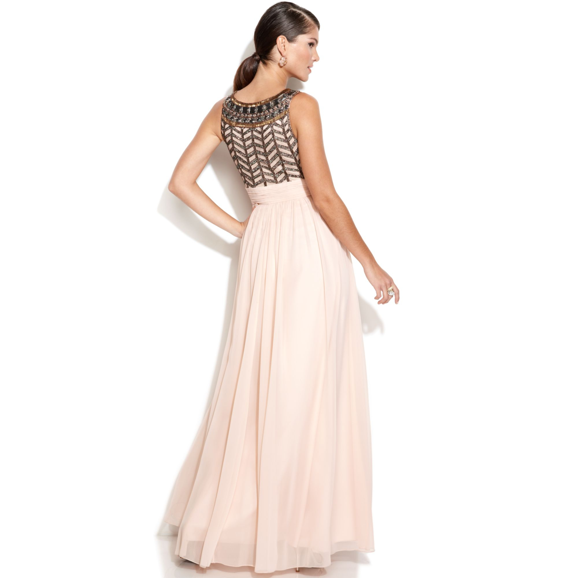 8c2f8d45c0 Lyst - JS Collections Sleeveless Beaded Empirewaist Gown in Pink