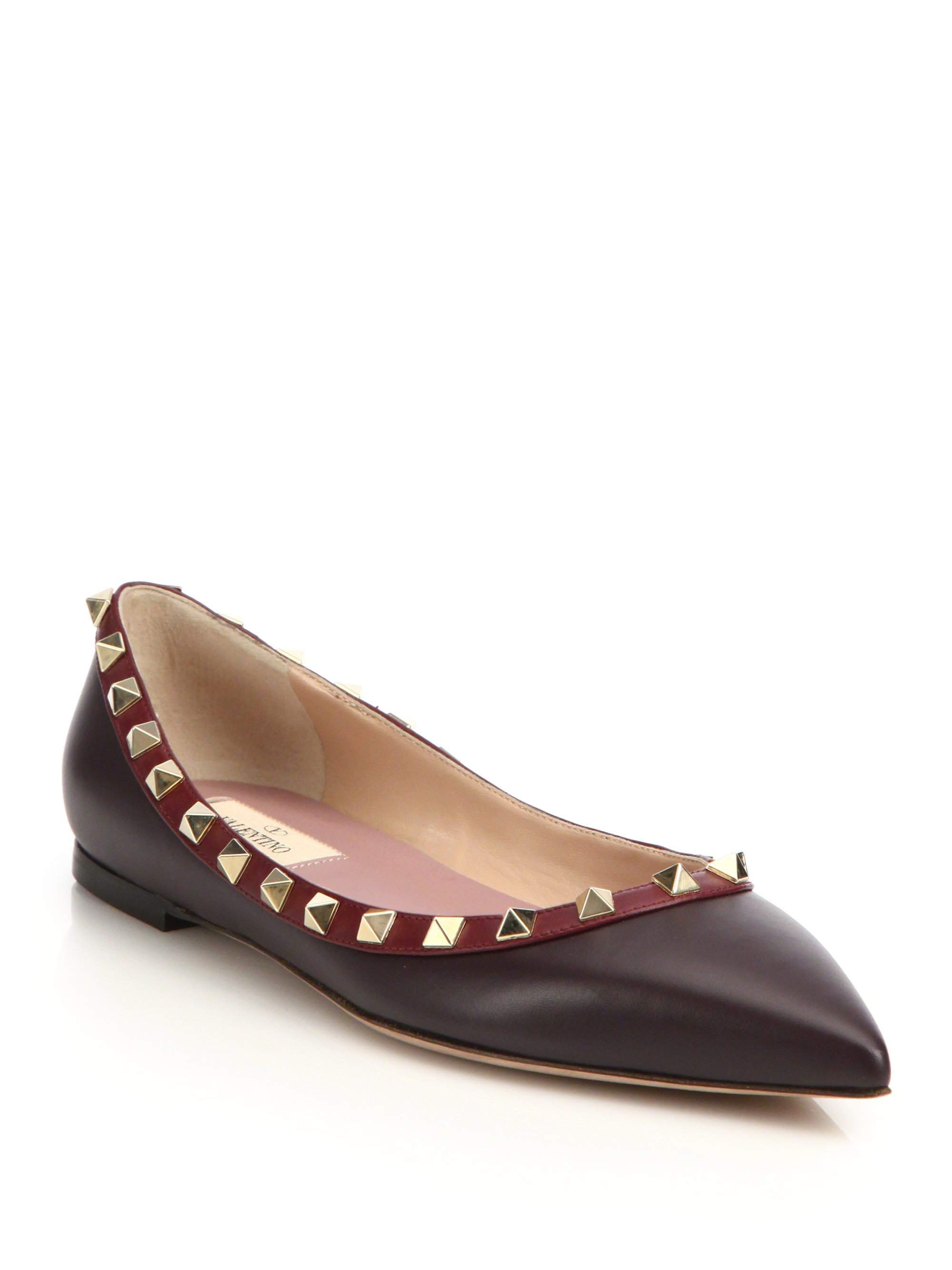 Valentino Rockstud Colorblock Leather Flats in Red | Lyst