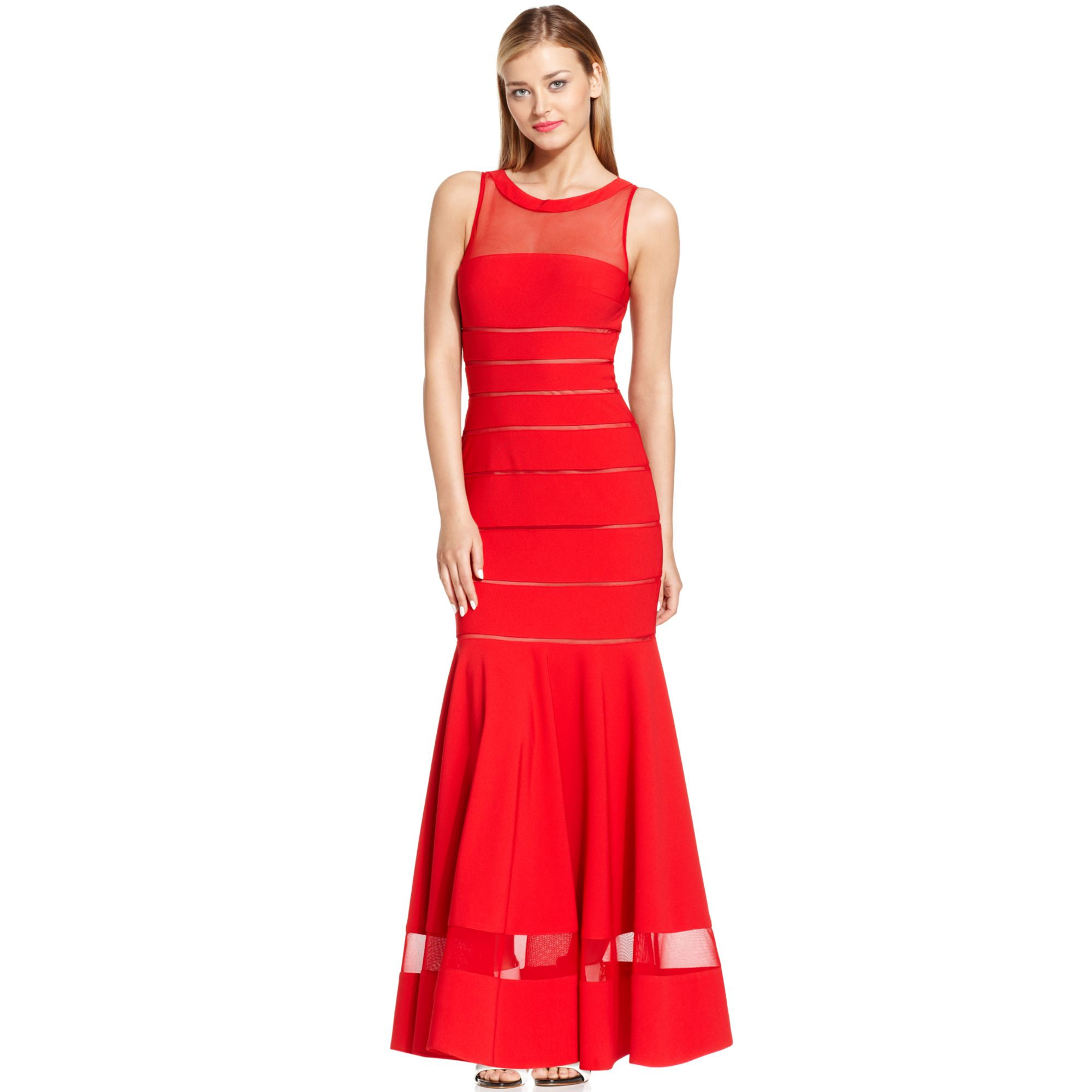 Lyst - Js Collections Illusion-stripe Mermaid Gown in Red