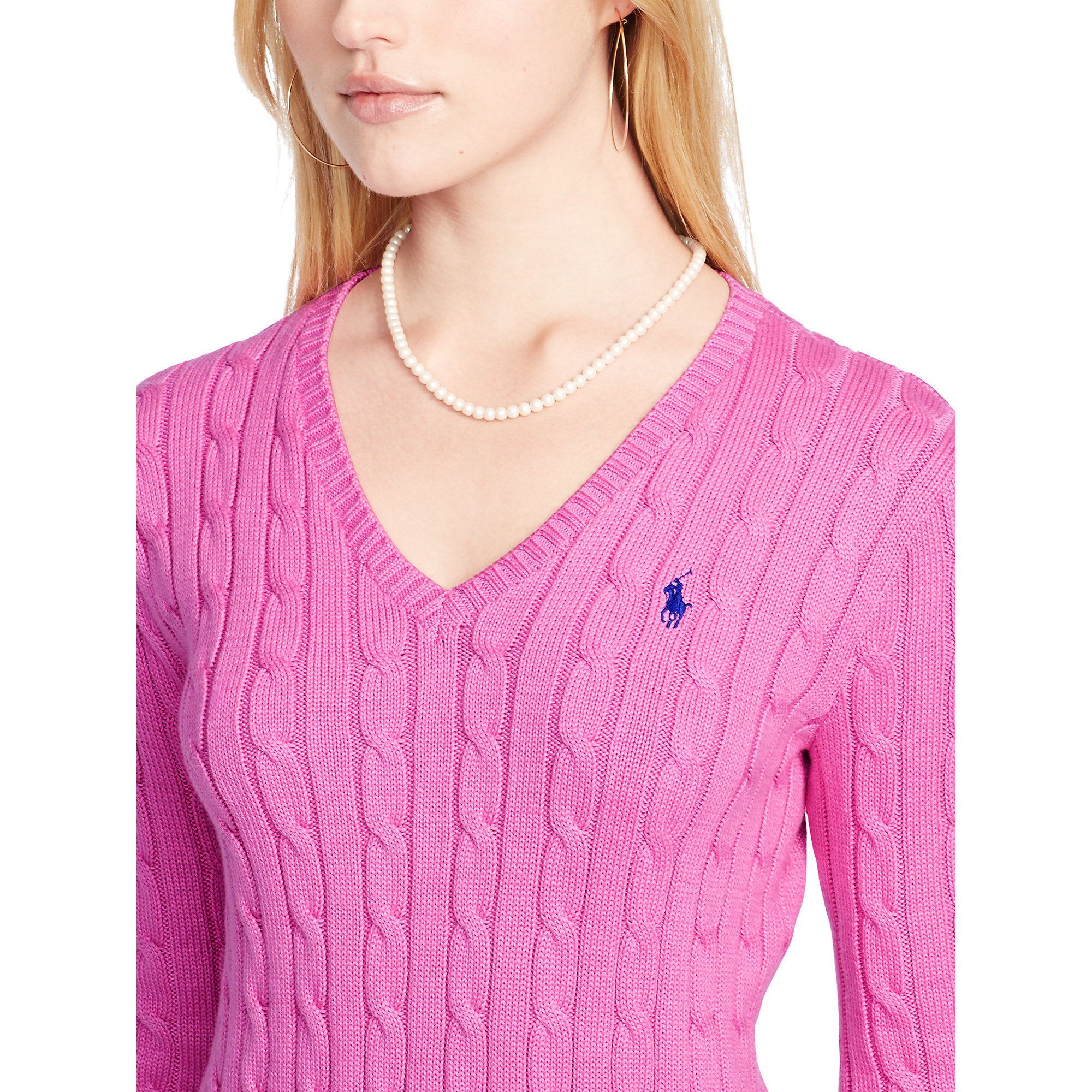 Ralph Lauren Cabled Cotton V Neck Sweater In Pink Lyst