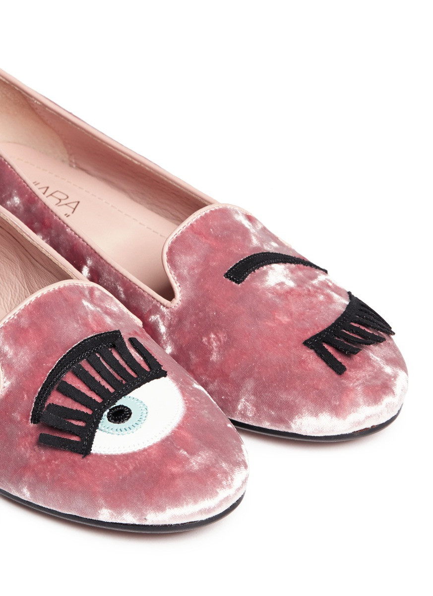 lyst chiara ferragni 39 flirting 39 eye appliqu chenille flats in pink. Black Bedroom Furniture Sets. Home Design Ideas