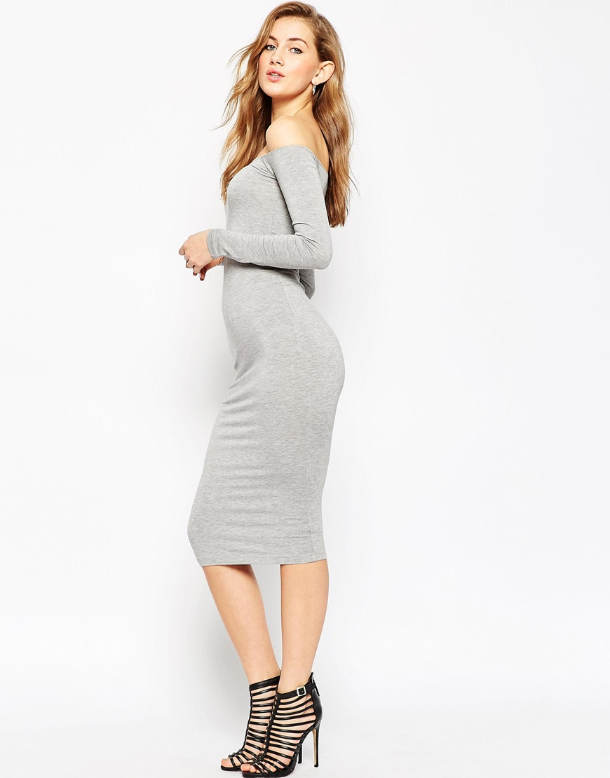 98119549f87 ASOS Long Sleeve Midi Off The Shoulder Bardot Bodycon Dress in Gray ...