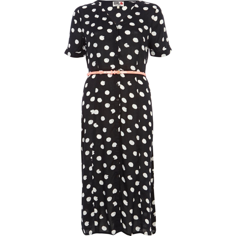 River Island Black Chelsea Girl Polka Dot Midi Dress In