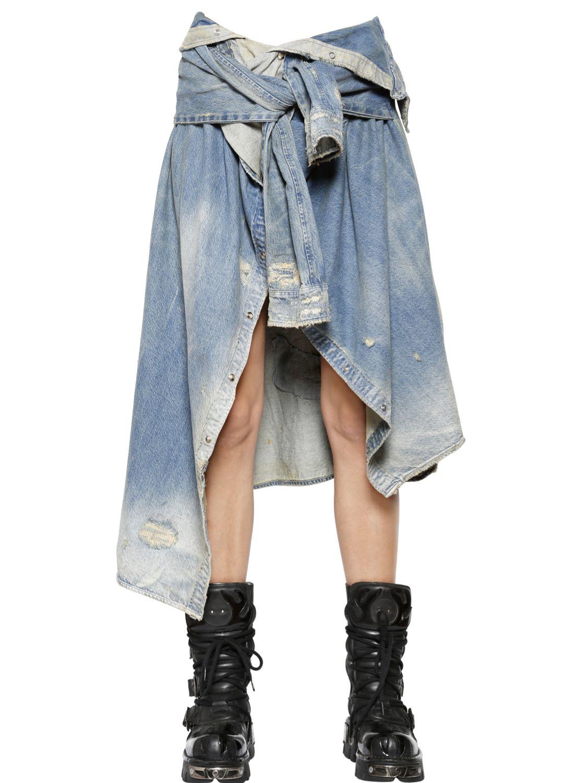 341b0bf0ea Lyst - Faith Connexion Distressed   Washed Denim Shirt Skirt in Blue