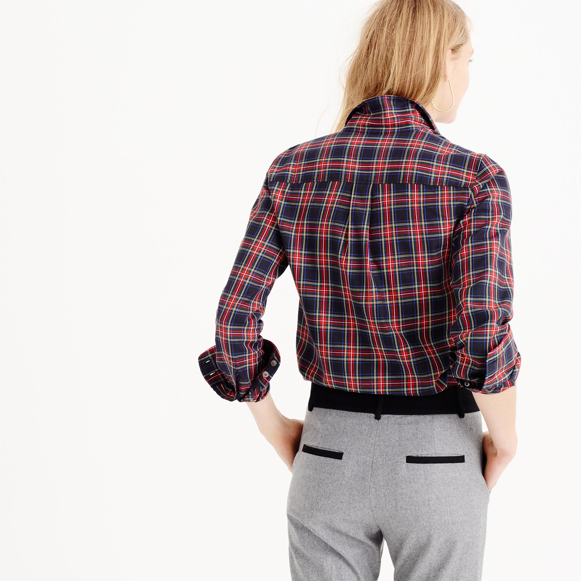 Thomas mason flannel shirt in stewart plaid in for Womens christmas flannel shirt