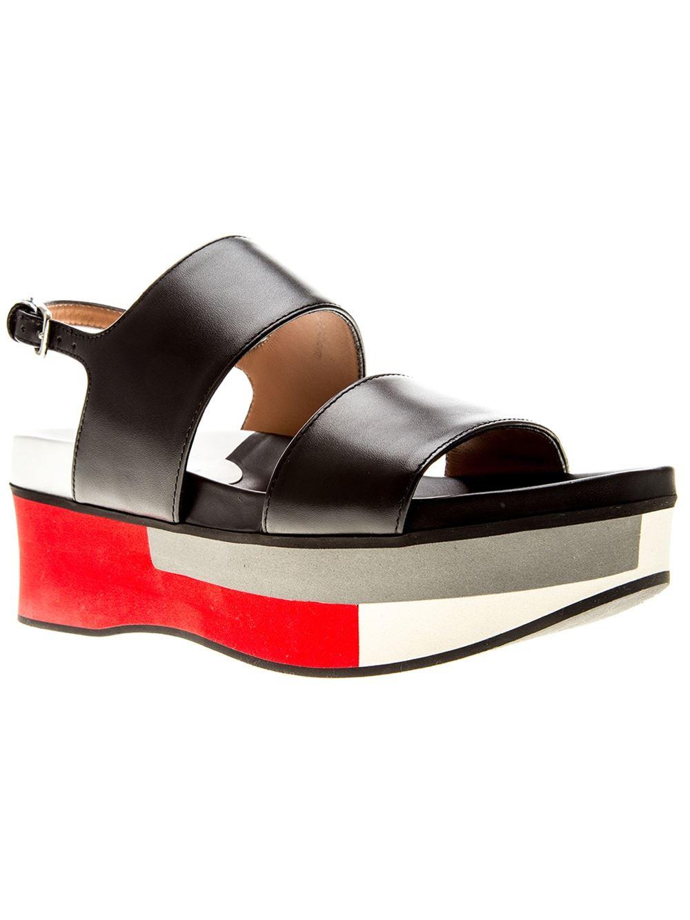 3e1ac6c4269 Lyst - Marni Colour Block Platform Sandals in Black