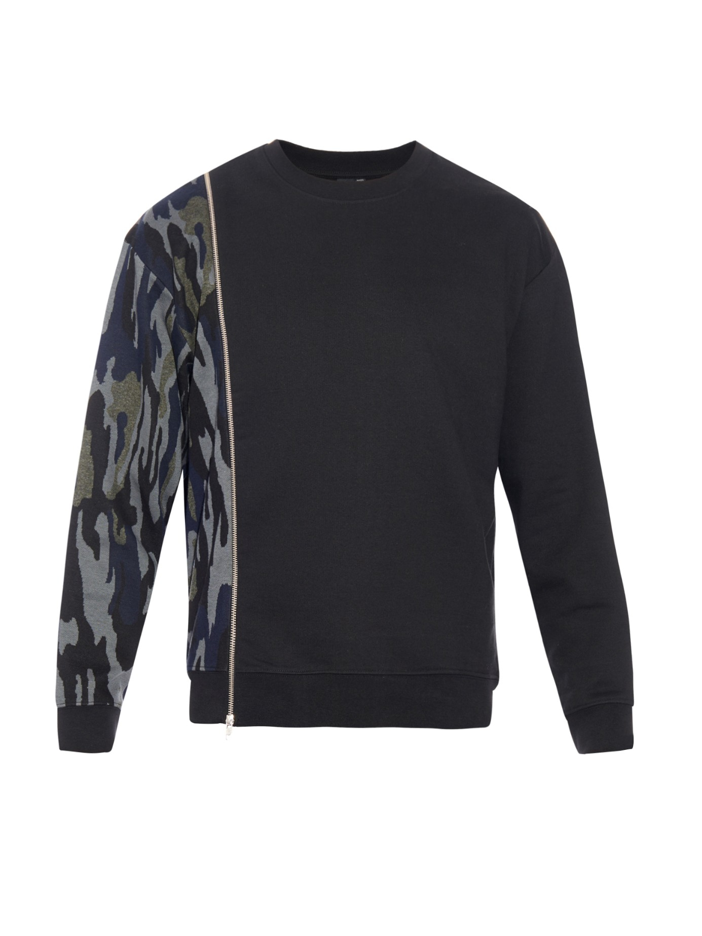 mcq by alexander mcqueen camouflage panel cotton blend sweatshirt in black for men lyst. Black Bedroom Furniture Sets. Home Design Ideas
