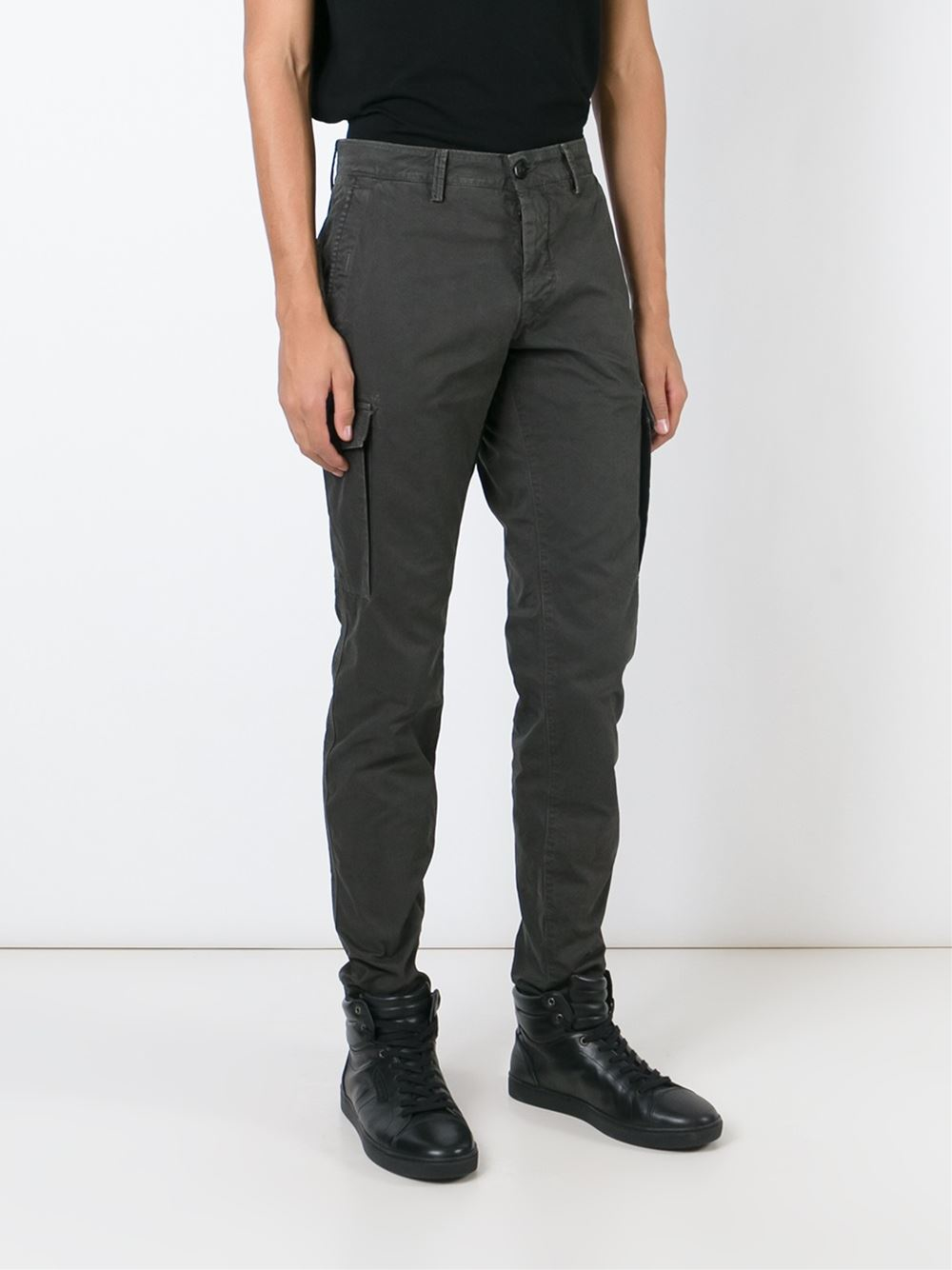 Lyst - Stone Island Slim Cargo Trousers in Gray for Men