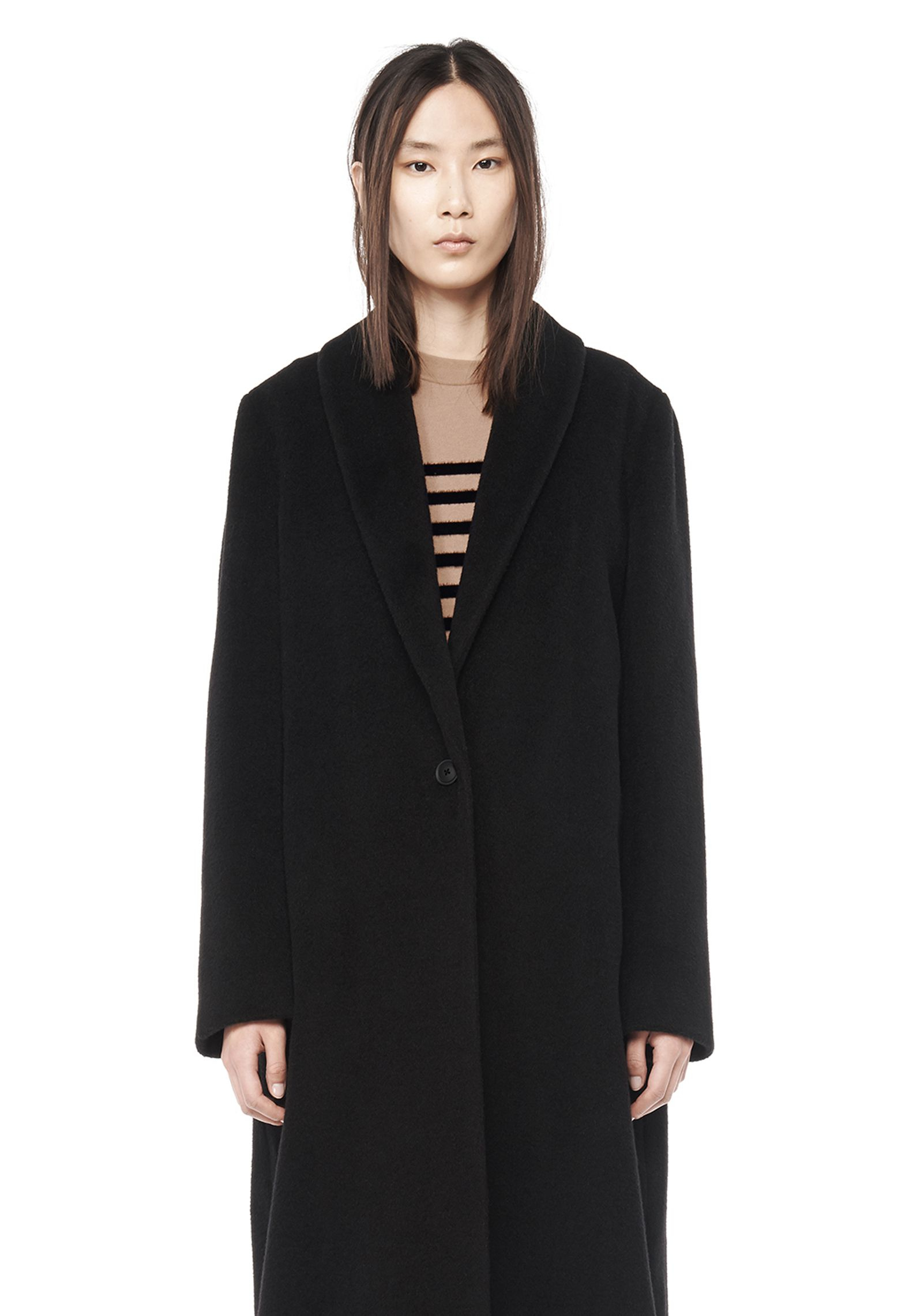 lyst t by alexander wang mohair wool long coat in black. Black Bedroom Furniture Sets. Home Design Ideas