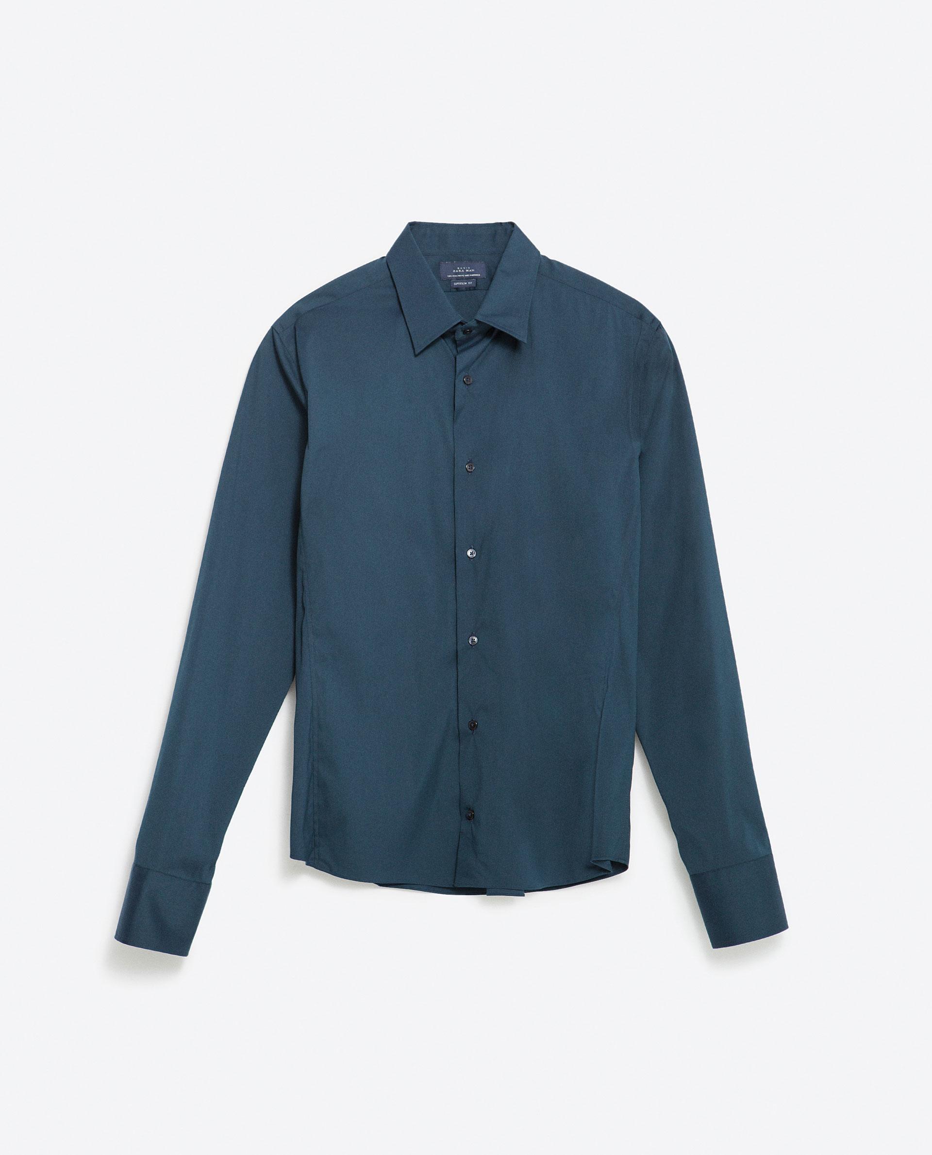 Zara stretch shirt in blue for men indigo lyst for Zara mens shirts sale