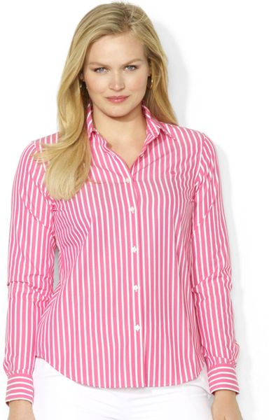 Lauren By Ralph Lauren Plus Size Striped Shirt In Pink