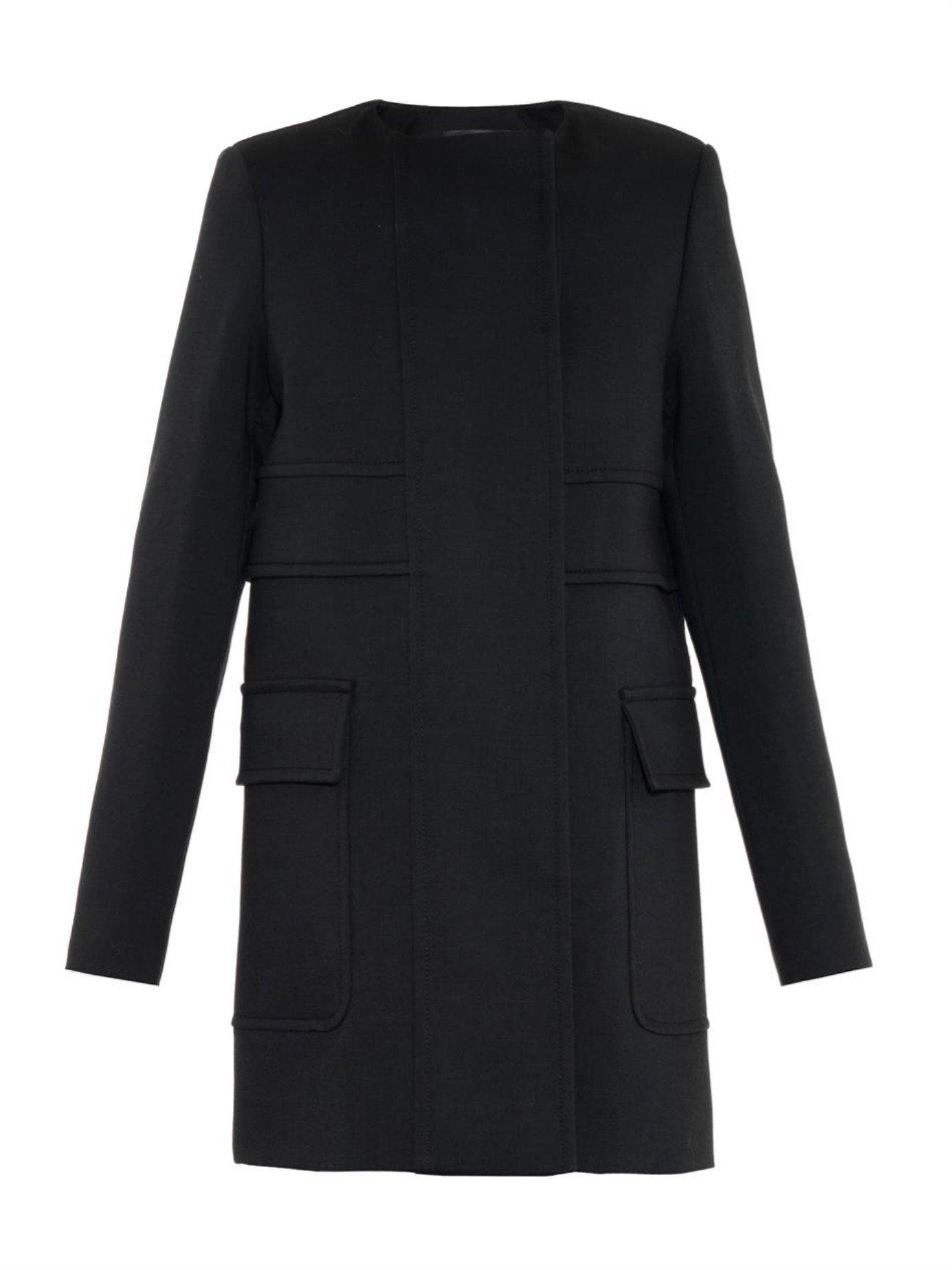 Proenza schouler Double-breasted Wool Coat in Black | Lyst