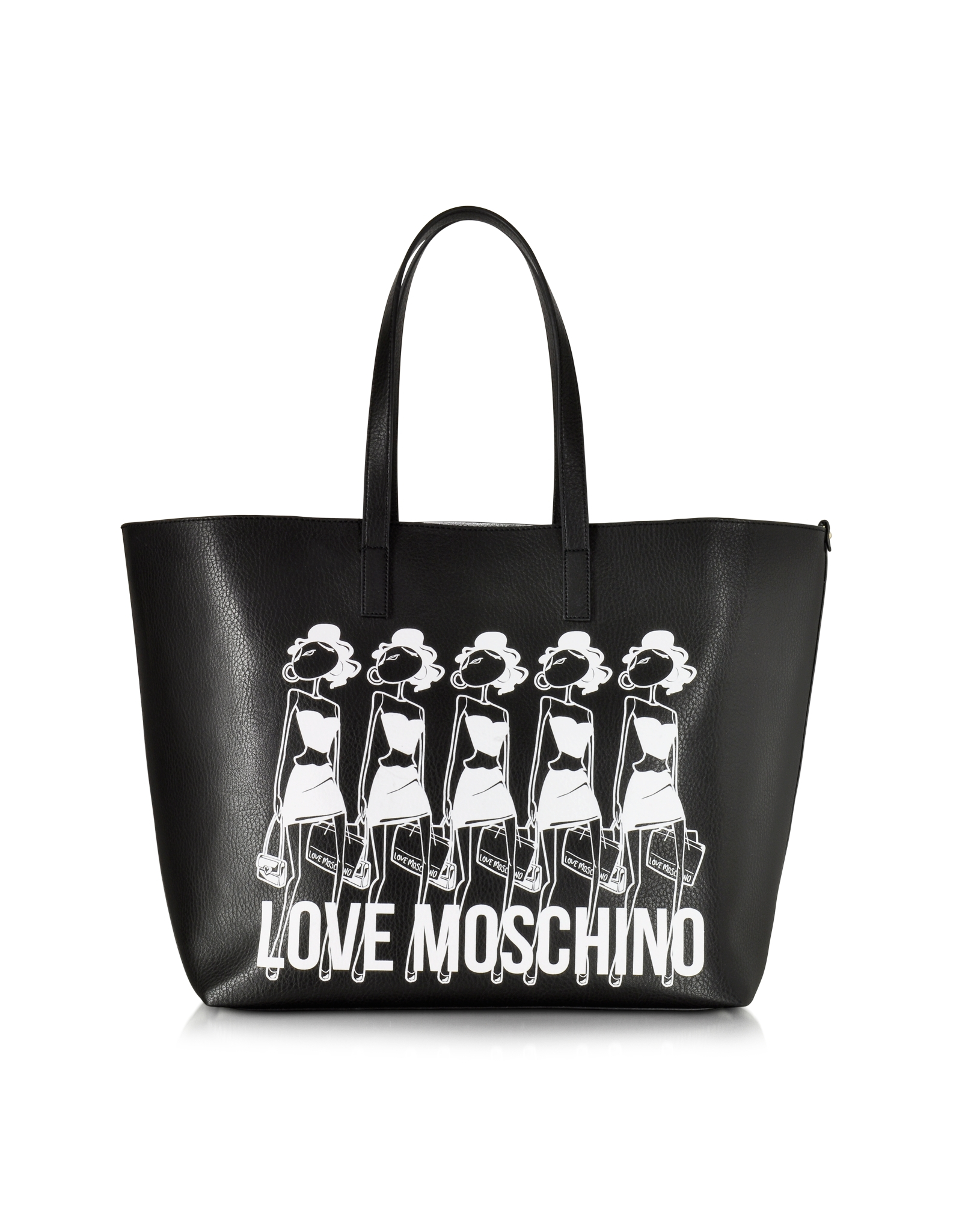 b9eea49aad Love Moschino Large Eco Leather Tote W/girls Print in White - Lyst
