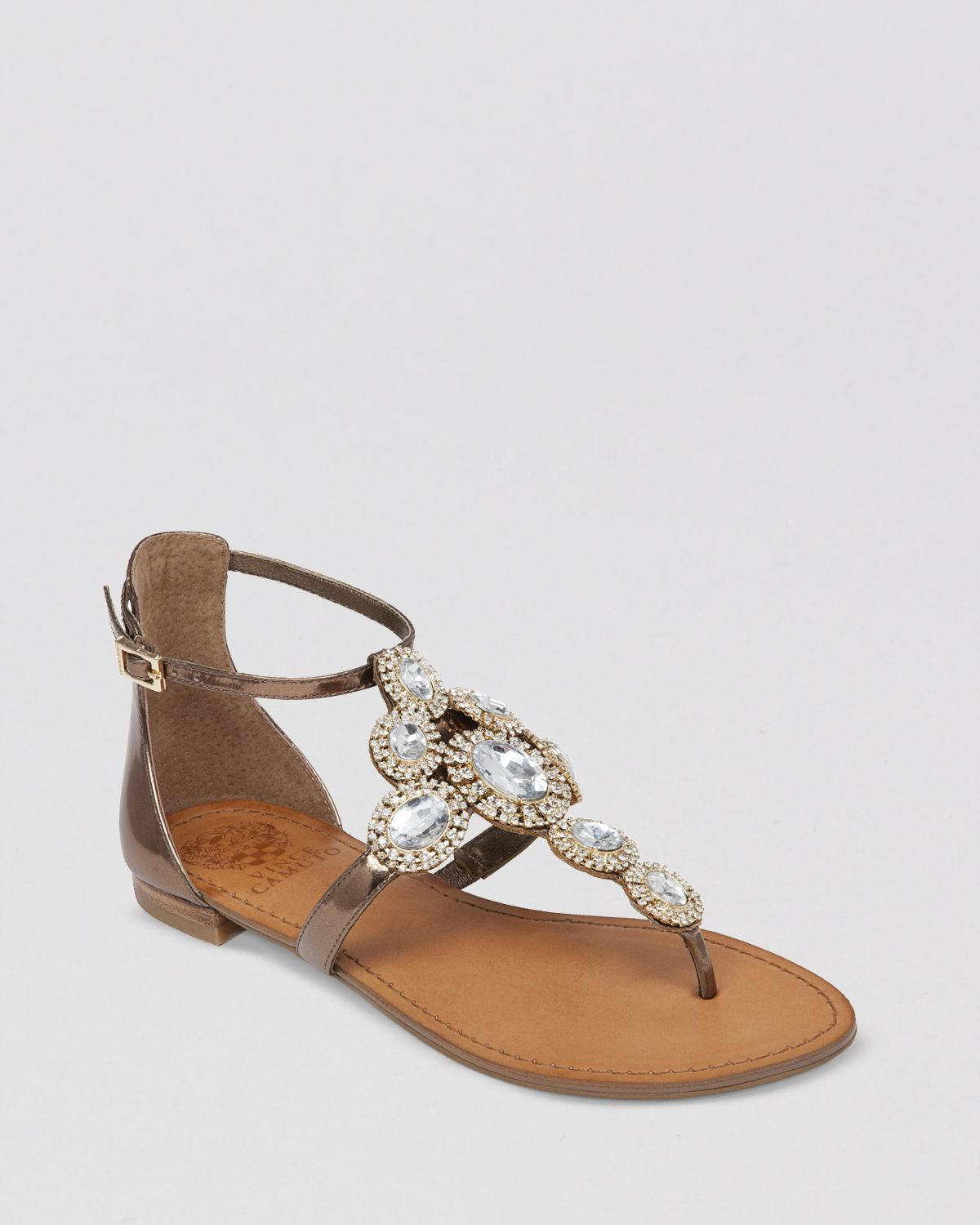 Vince Camuto Jeweled Thong Flat Sandals Manelle In Gold