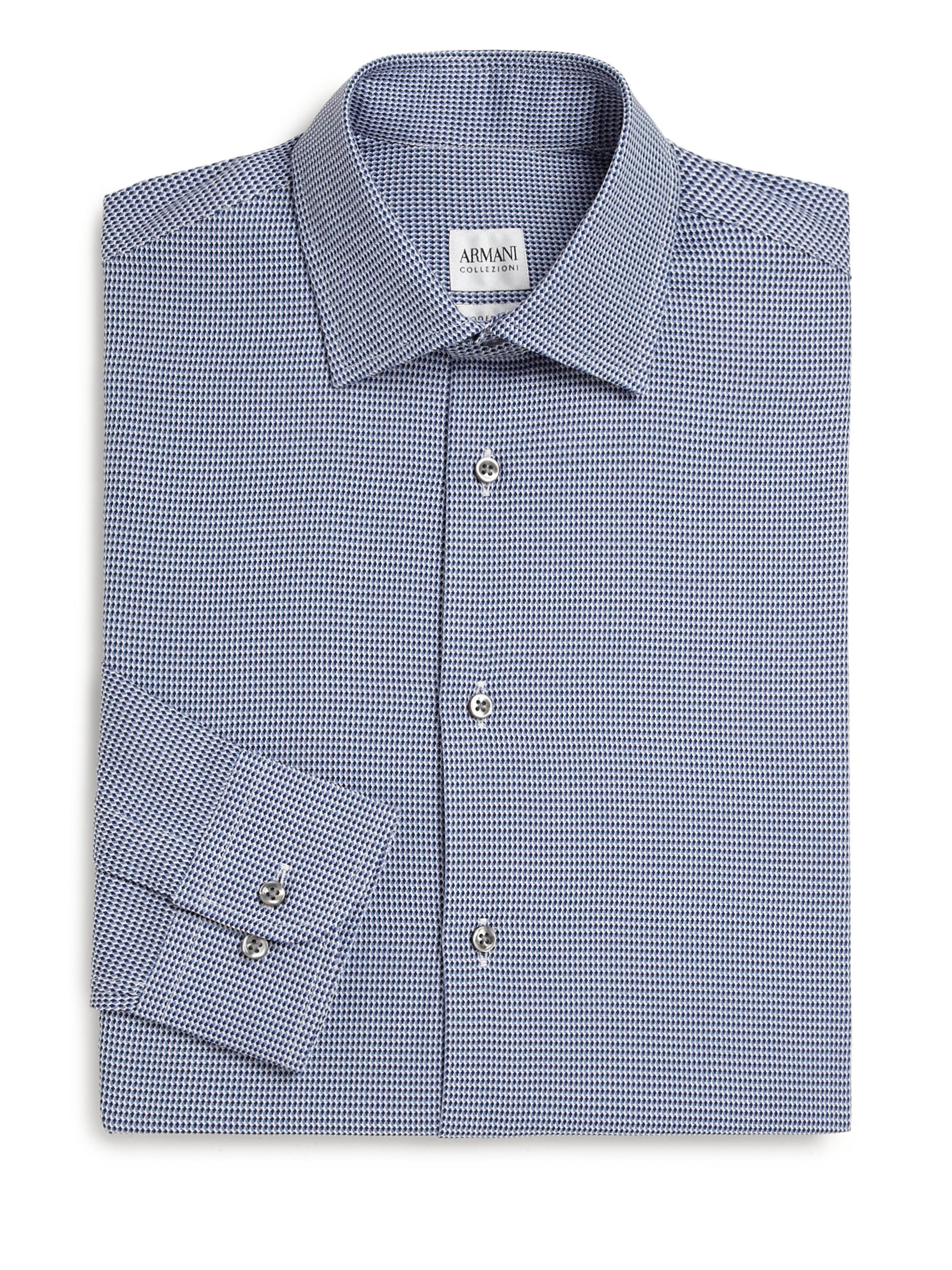 Lyst armani modern fit honeycomb print dress shirt in for Modern fit dress shirt