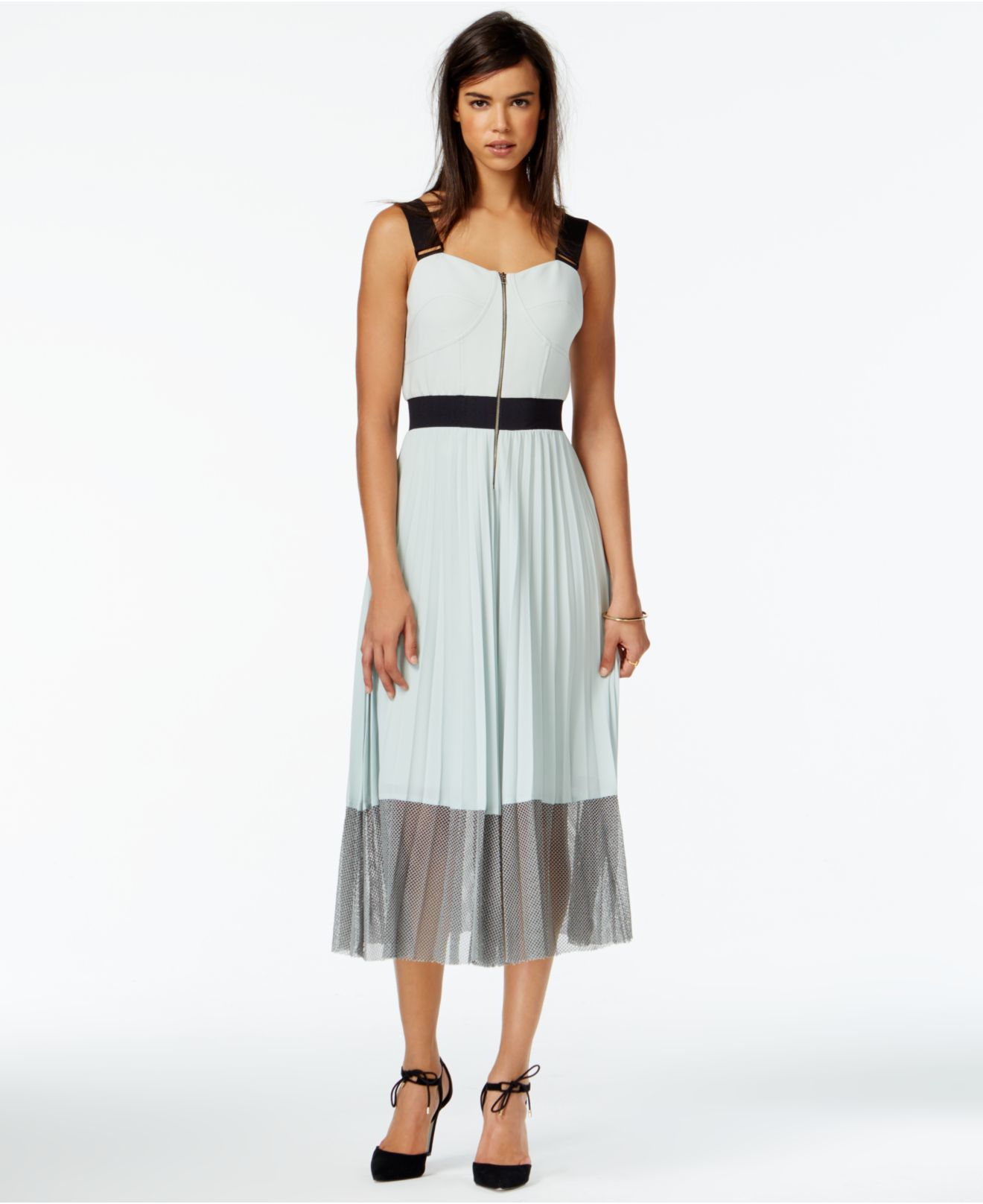 Lyst - RACHEL Rachel Roy Colorblocked Pleated Midi Dress in Green 4eb083294