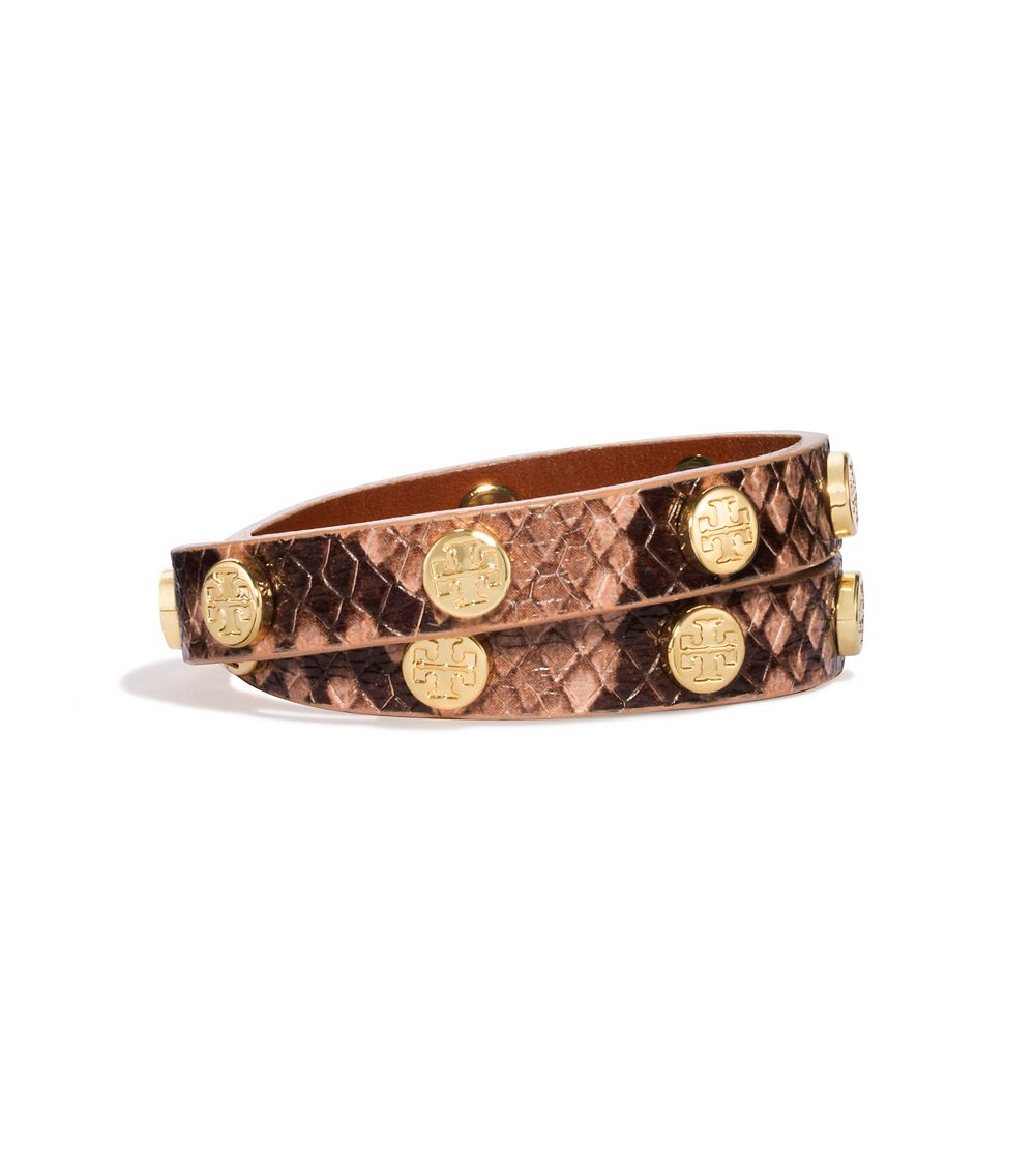 39a4d17f95c2e Lyst - Tory Burch Double-wrap Logo Stud Bracelet in Brown