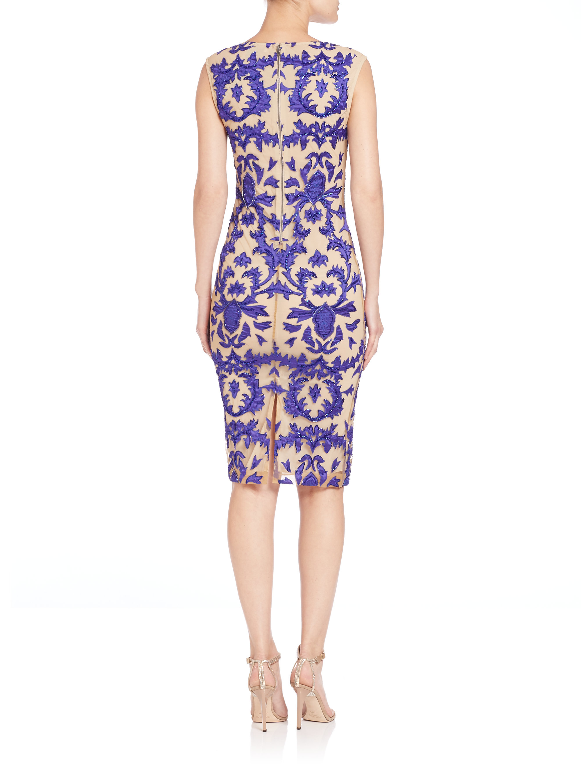 Alice+olivia Woman Embroidered Mesh Gown Blue Size 4 Alice & Olivia ABr4T