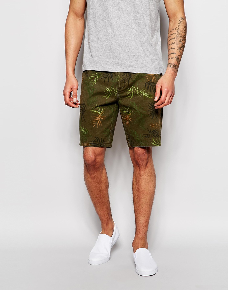 Asos Chino Shorts In Mid Length Floral Camo in Natural for Men | Lyst