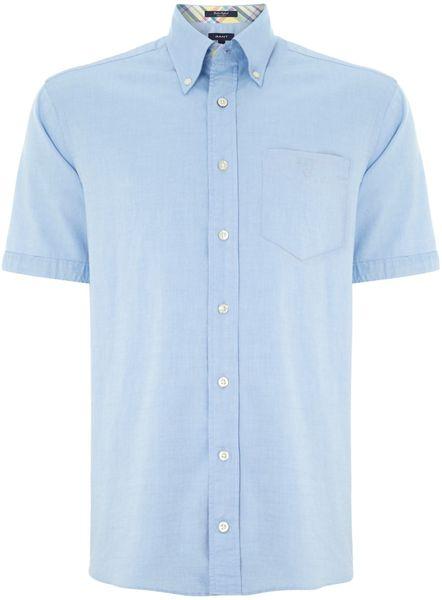 Gant short sleeve gingham shirt in blue for men light for Light blue short sleeve shirt mens