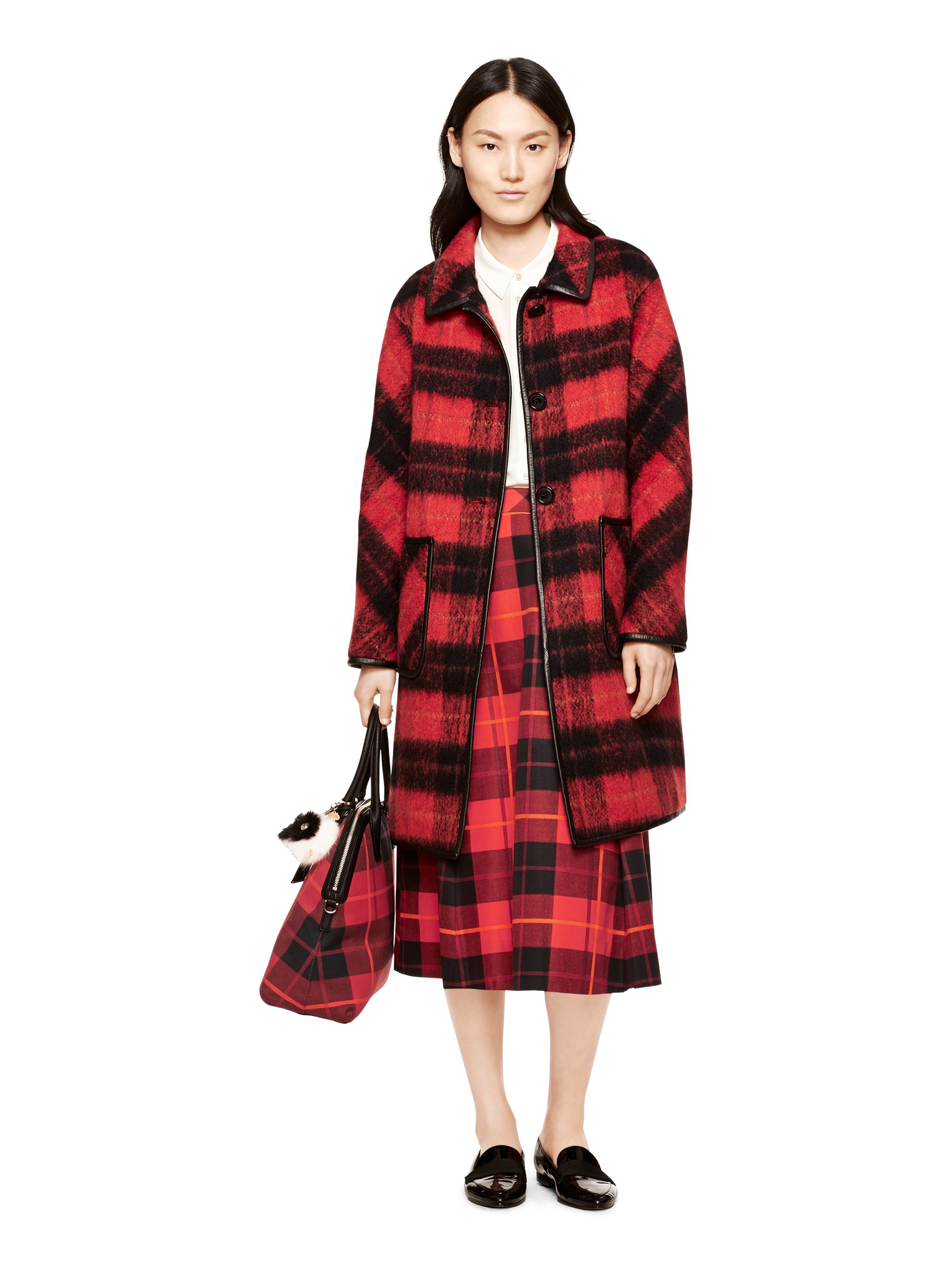 Kate spade new york Woodland Check Coat in Red | Lyst