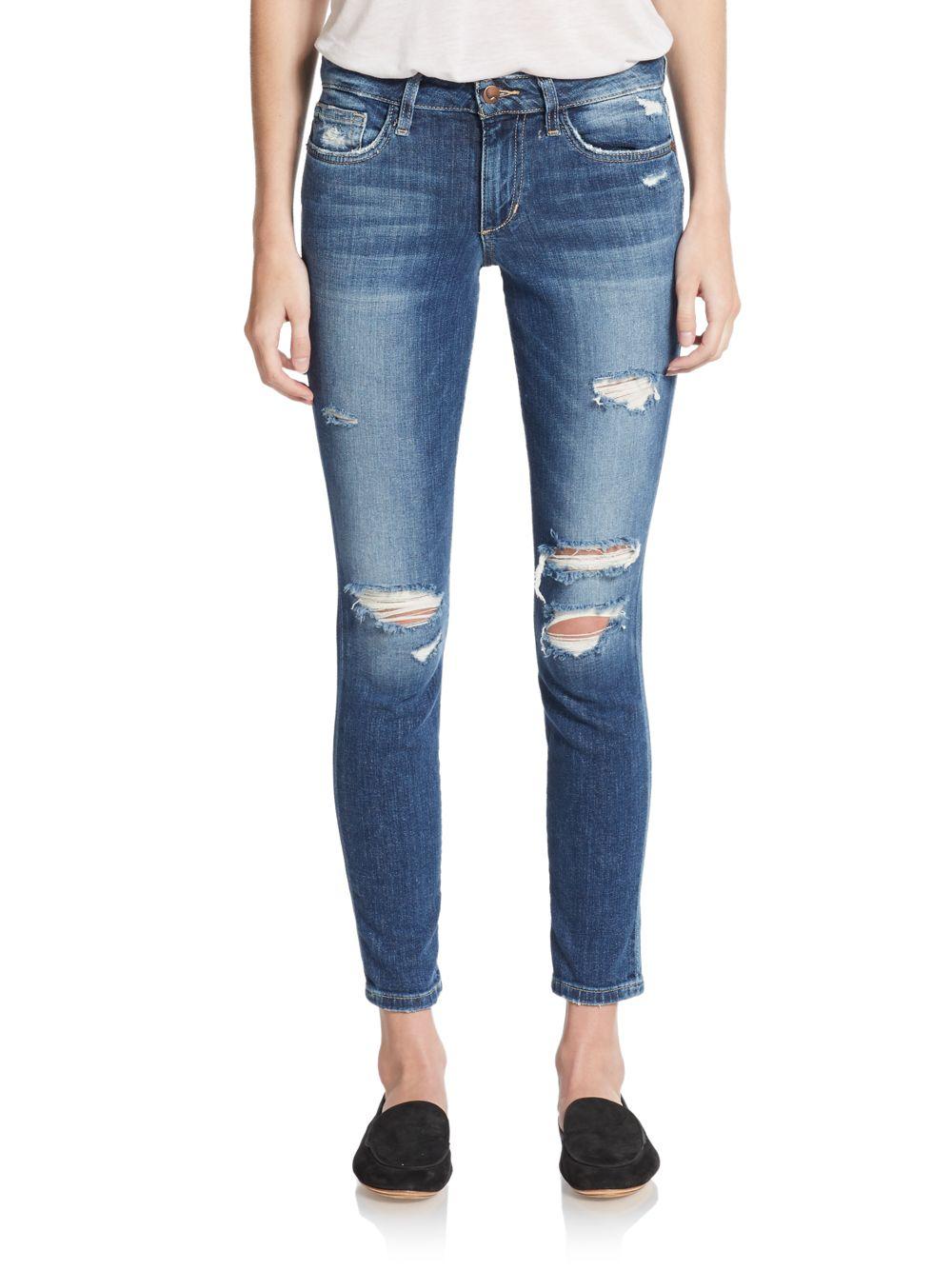 Joe's jeans Distressed Skinny Ankle Jeans in Blue   Lyst