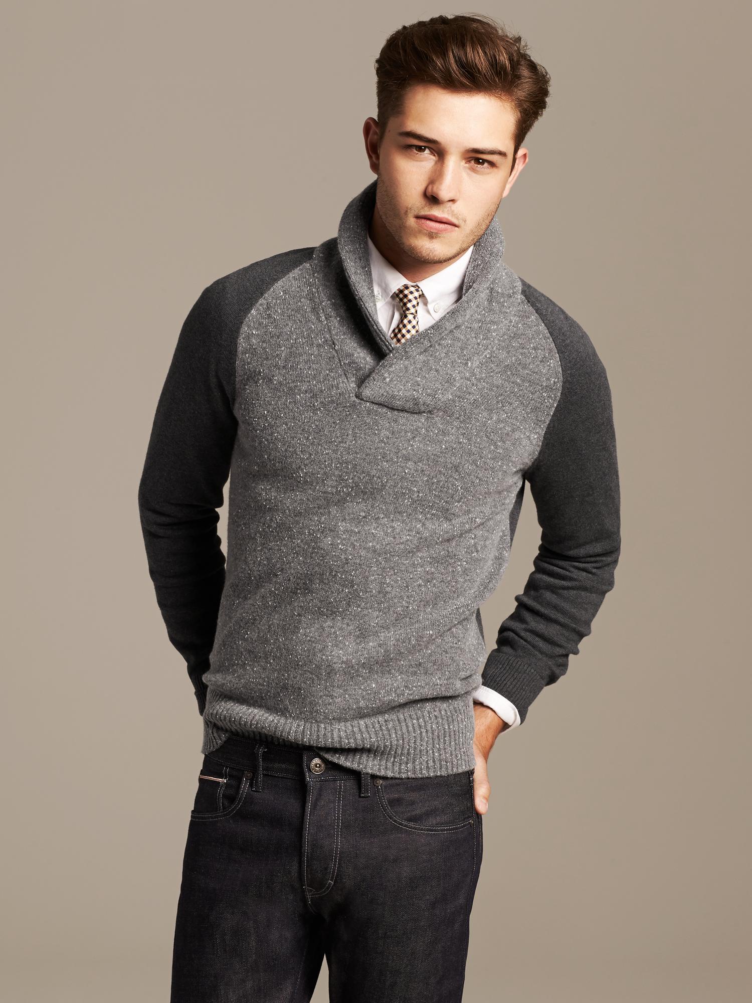 Lyst Banana Republic Tweed Shawl Collar Pullover Medium Gray