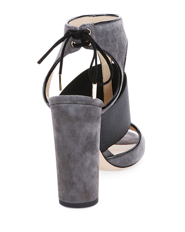 e80da57989e Lyst - Jimmy Choo Moira Suede Ankle-tie Sandal in Gray