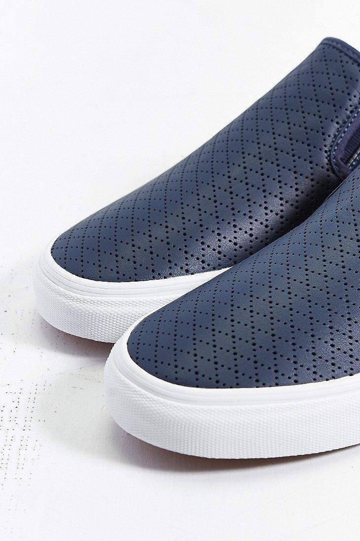 vans classic leather slip on sneaker in blue for lyst