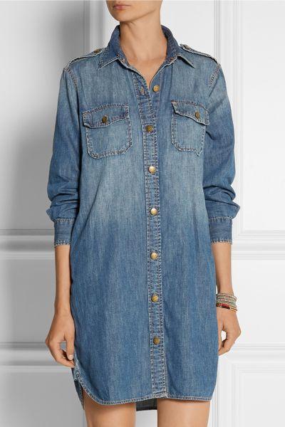 current elliott the perfect denim shirt dress in blue lyst