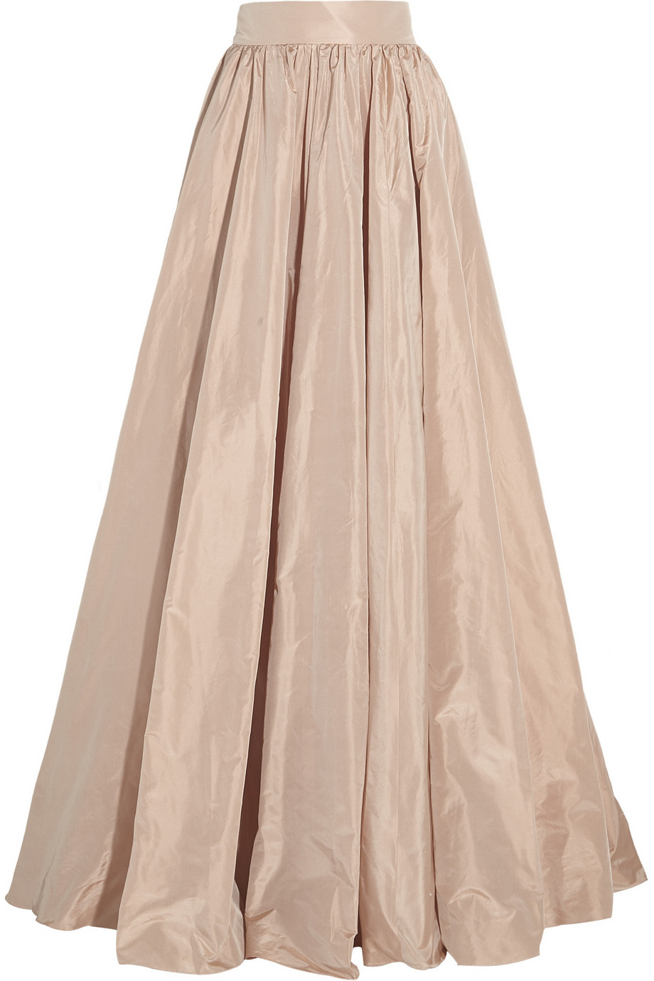 packham pleated silk taffeta maxi skirt in metallic