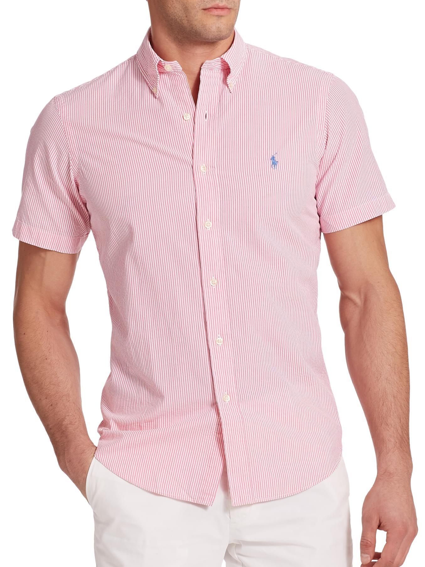 2aaab8f11f1f ... spain lyst polo ralph lauren striped seersucker sportshirt in pink for  men 7dc2d 44983