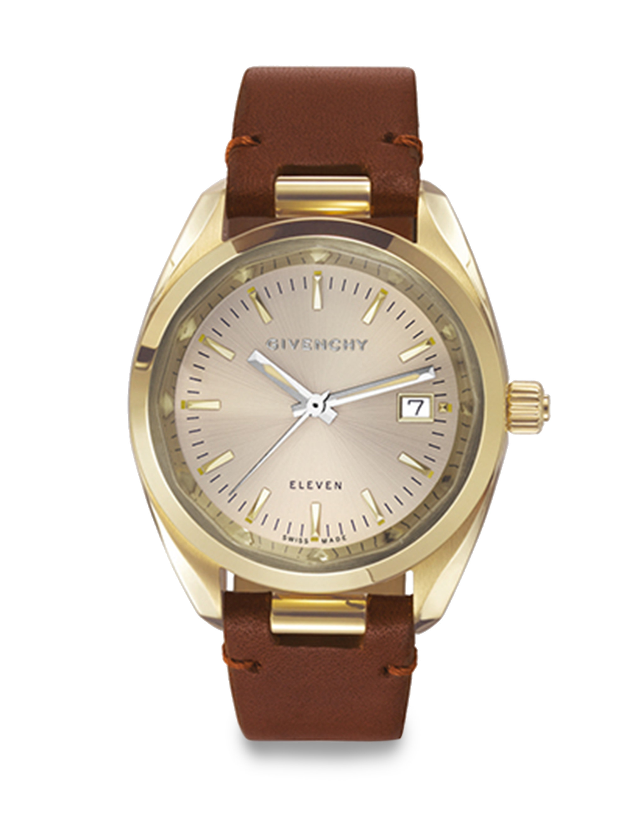 Lyst givenchy eleven goldtone pvd stainless steel leather strap watch in brown for Givenchy watches
