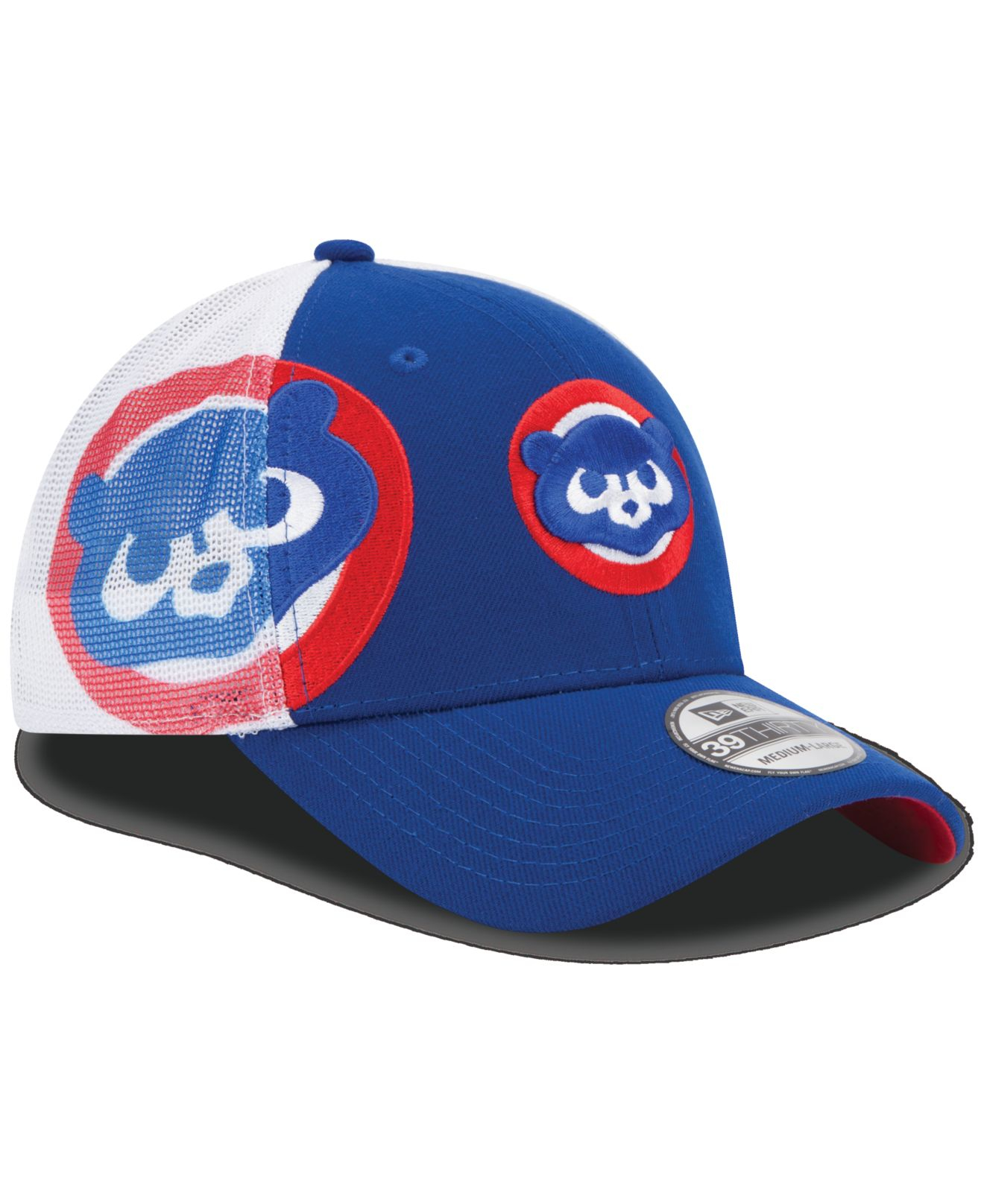 5fbdb51bb79 ... where to buy lyst ktz chicago cubs double mesh 39thirty cap in blue for  men 7d387