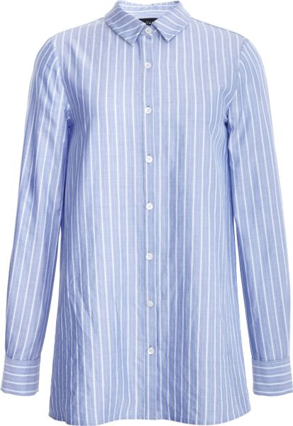 Thakoon Long Sleeve Striped Shirt In Blue Blue White Lyst