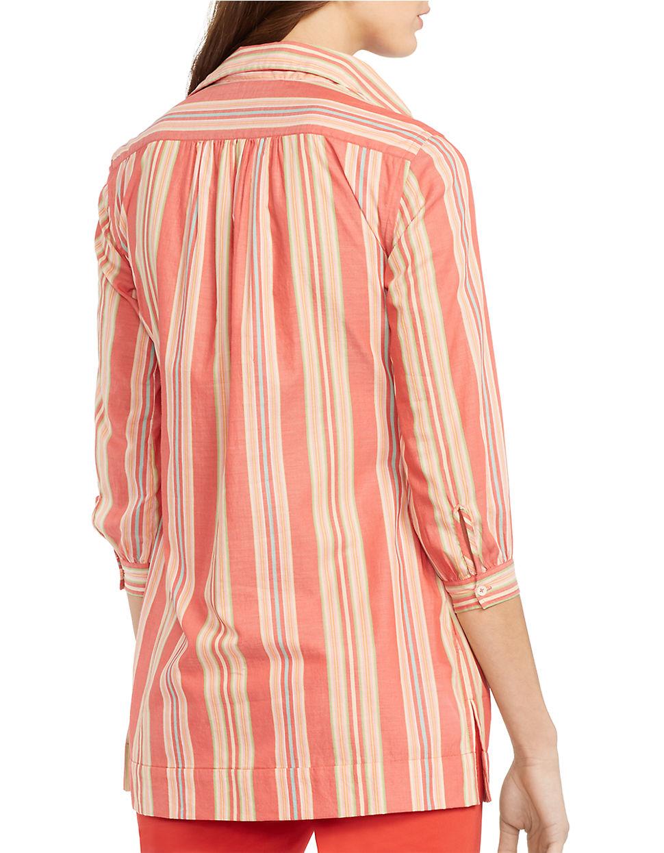 Lauren By Ralph Lauren Striped Cotton Tunic Lyst